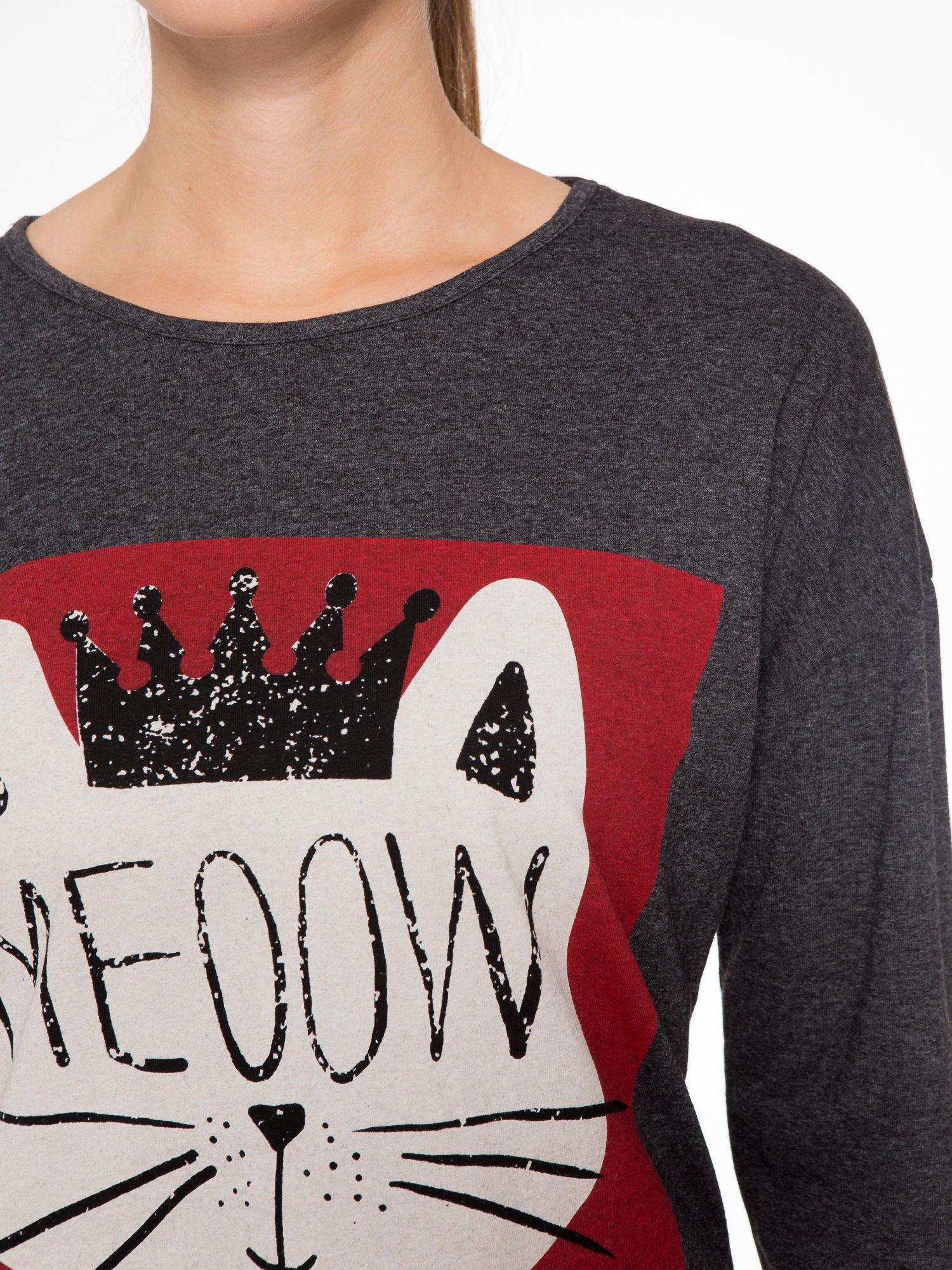 Szara bluzka z nadrukiem kota z koroną i napisem MEOW                                  zdj.                                  5