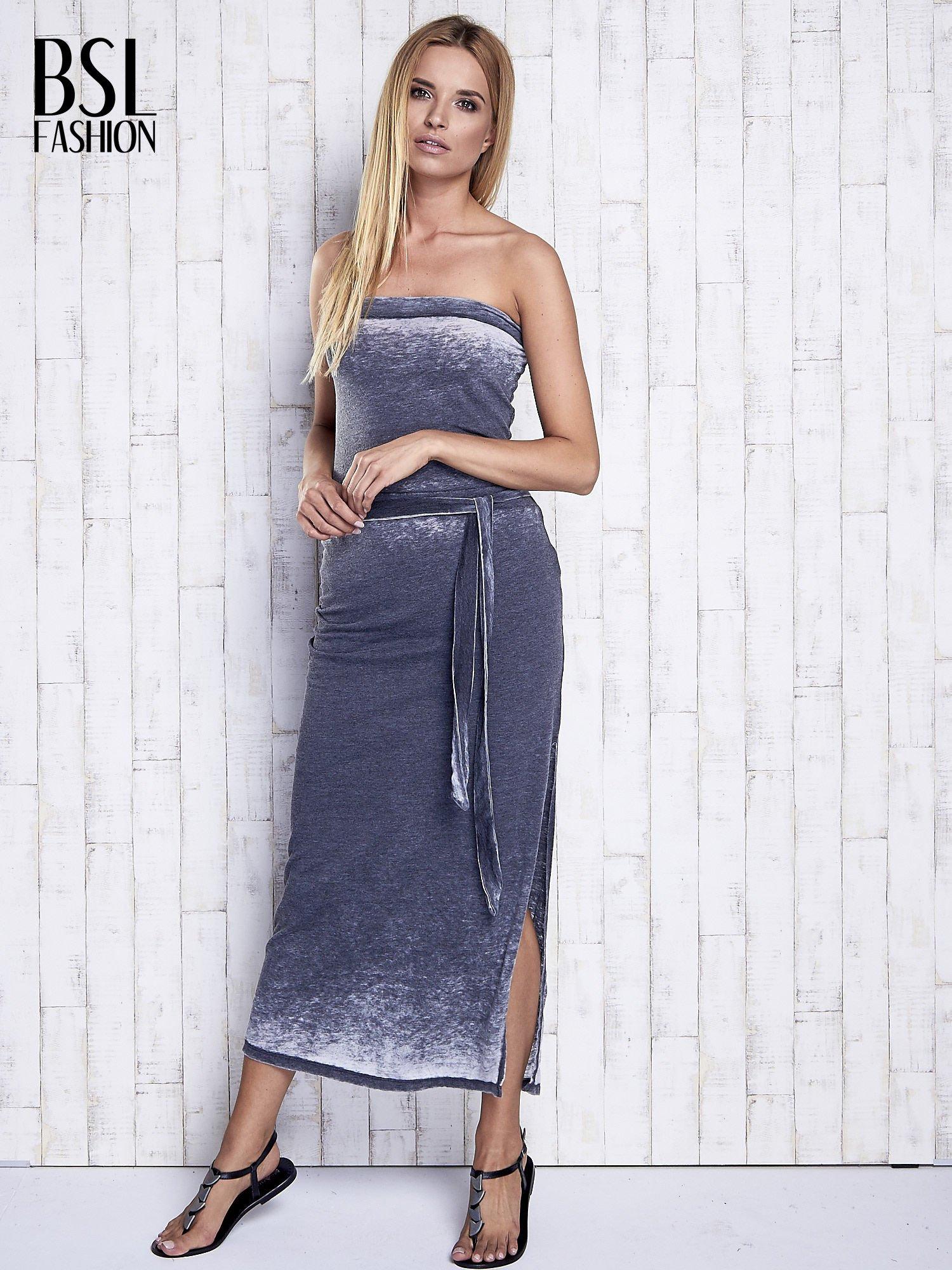 Szara dekatyzowana sukienka maxi na gumkę                                  zdj.                                  4
