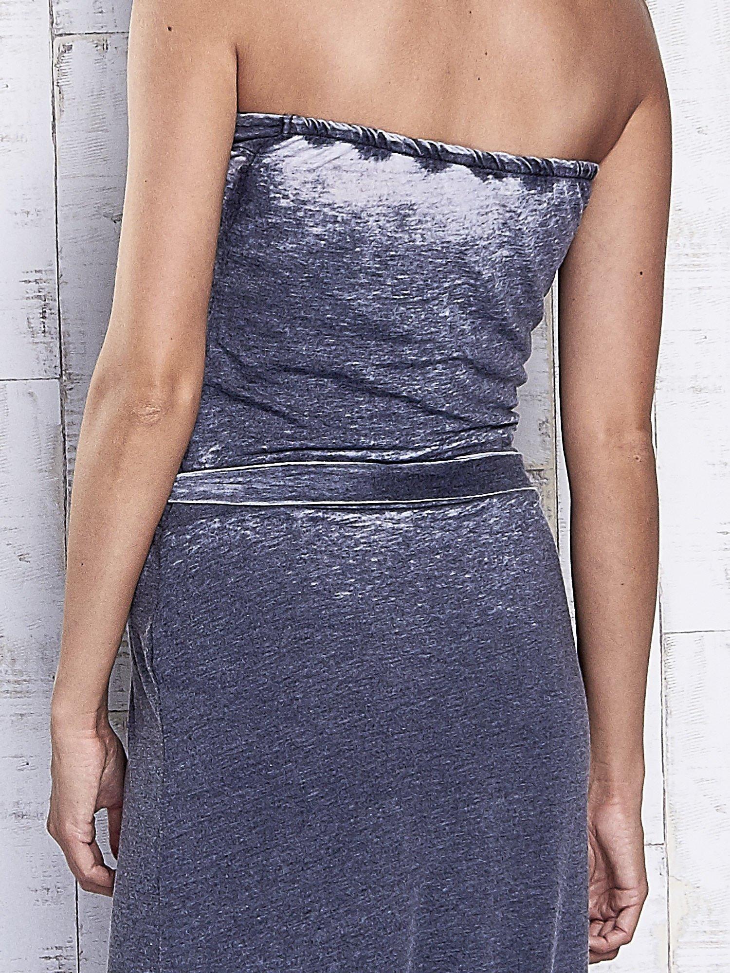 Szara dekatyzowana sukienka maxi na gumkę                                  zdj.                                  6