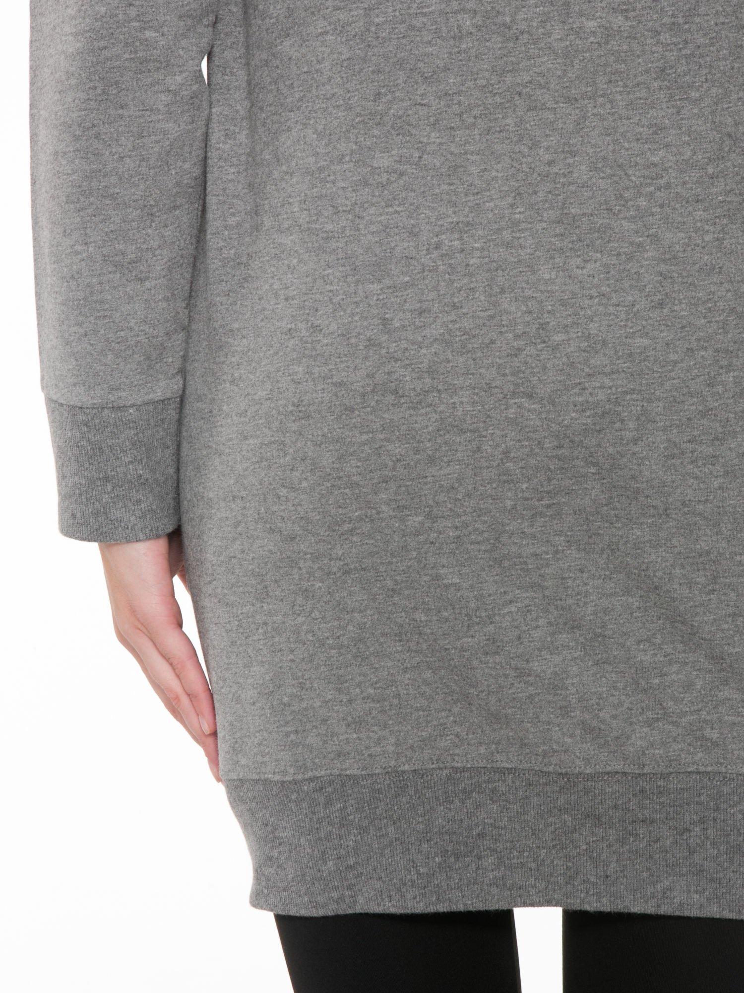 Szara długa bluza z kapturem w stylu baseballowym                                  zdj.                                  6