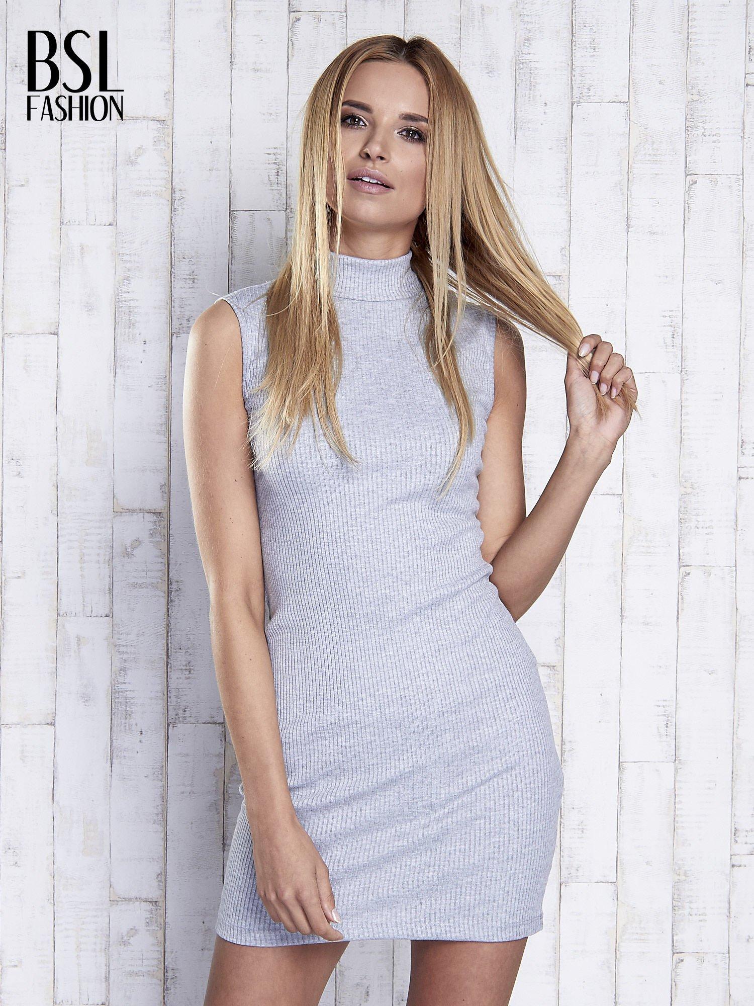 Szara dopasowana sukienka z golfem                                  zdj.                                  3