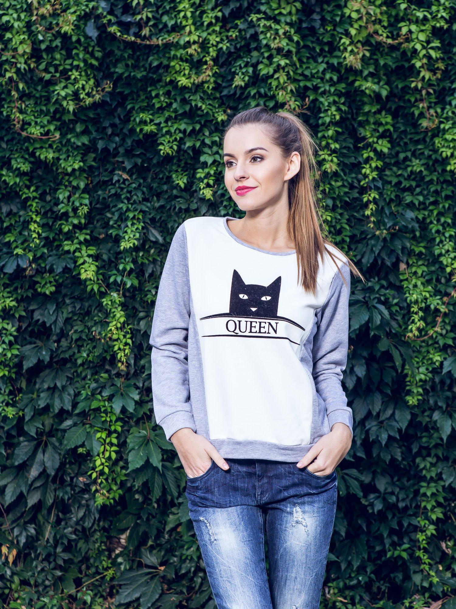 Szara dresowa bluza z nadrukiem kota i napisem QUEEN                                  zdj.                                  12