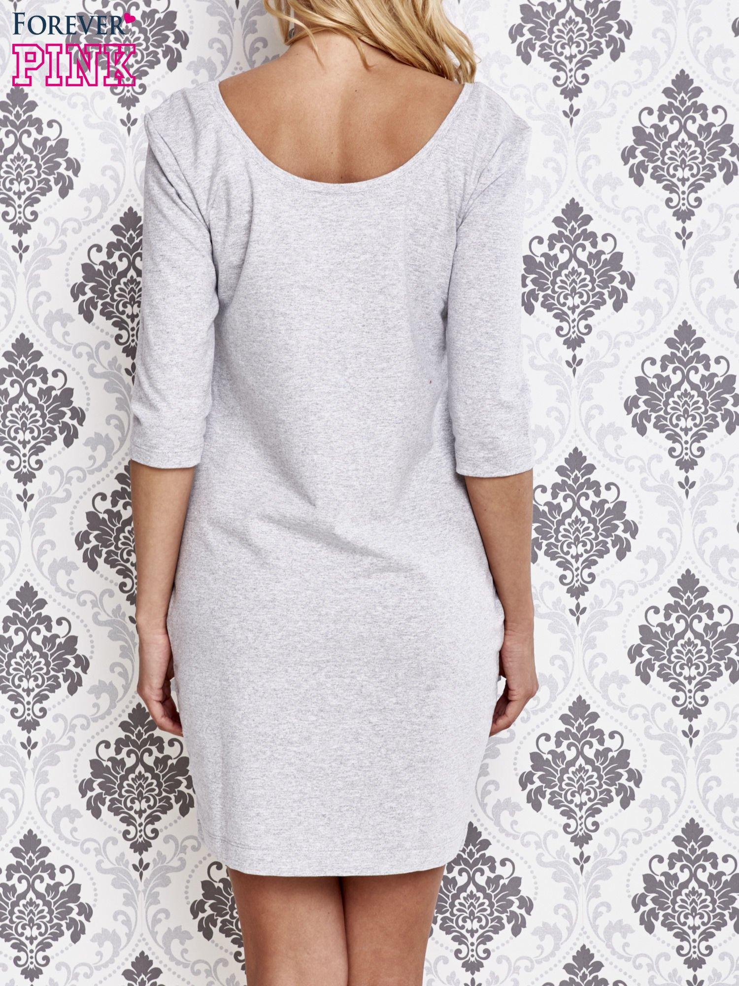 Szara dresowa sukienka z wiązaniem na plecach                                  zdj.                                  4