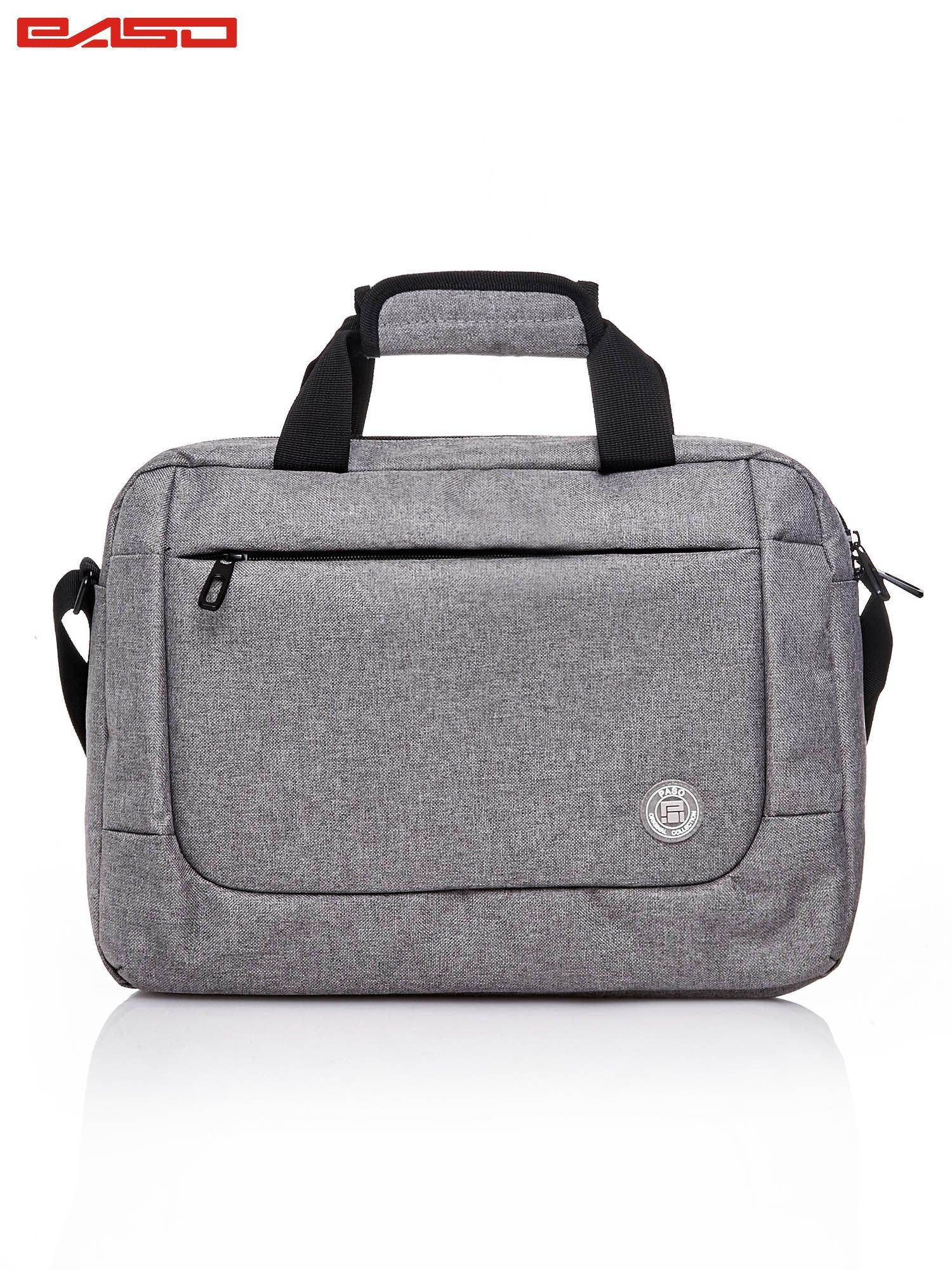 Szara gładka torba na laptopa                                   zdj.                                  1