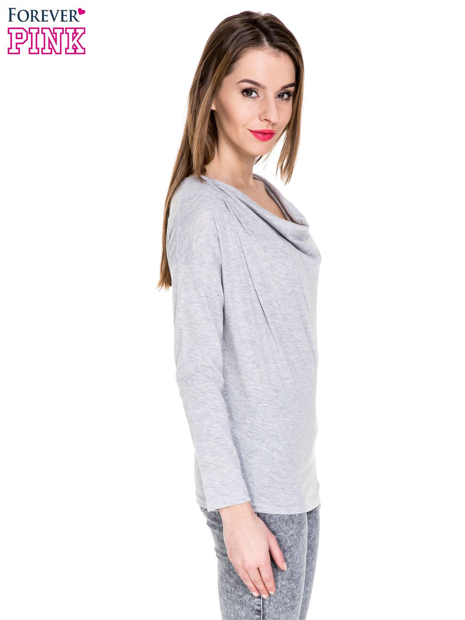 Szara melanżowa bawełniana bluzka z dekoltem typu woda                                  zdj.                                  3