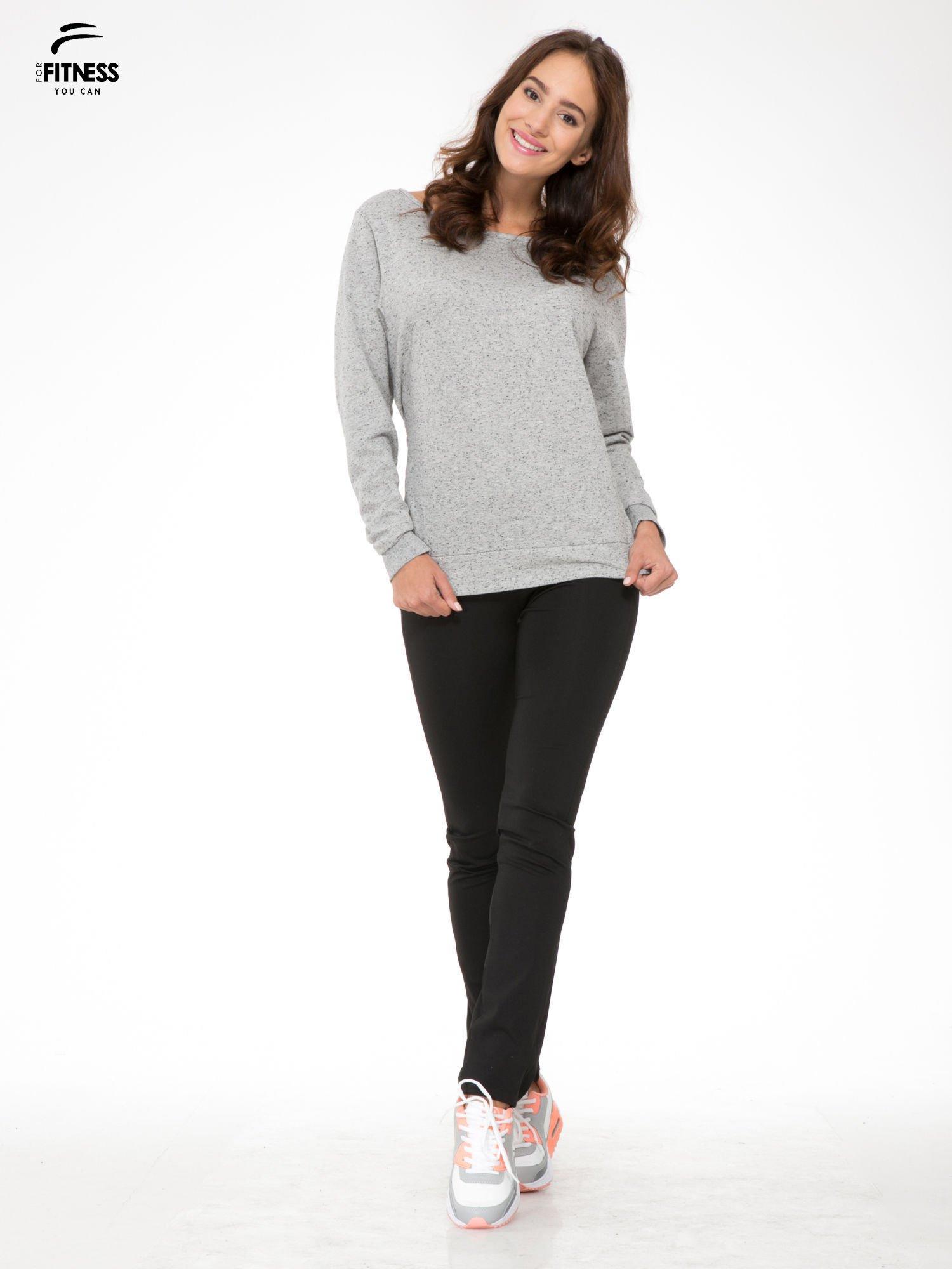 Szara melanżowa bluza dresowa z nietoperzowymi rękawami                                  zdj.                                  2