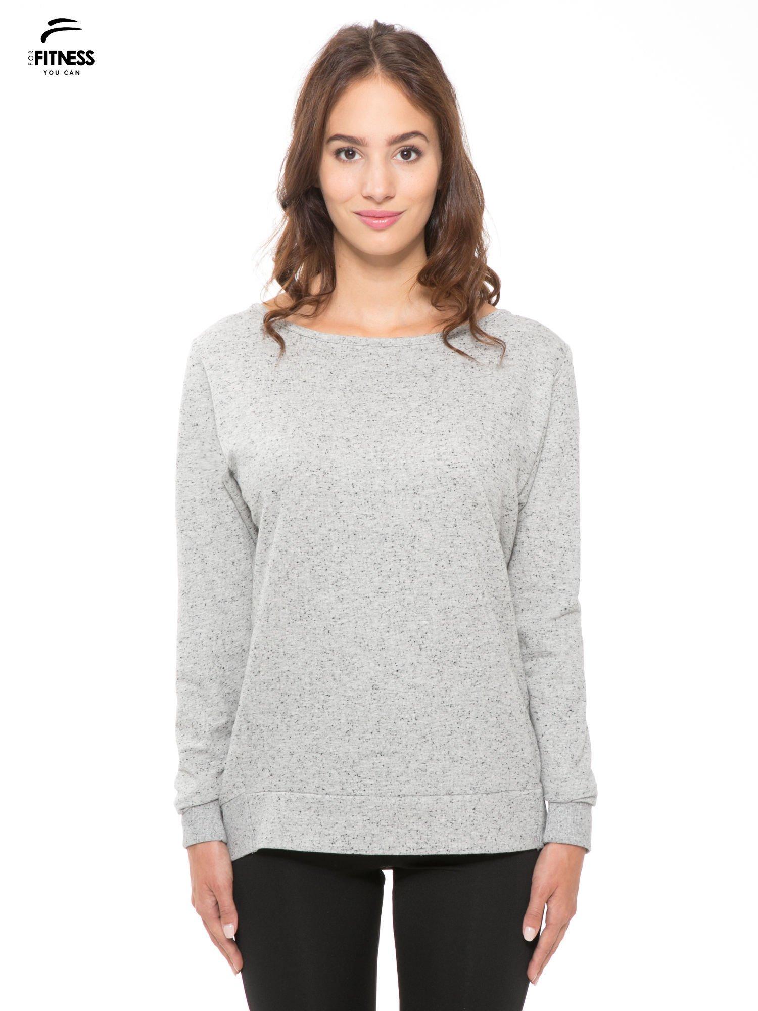 Szara melanżowa bluza dresowa z nietoperzowymi rękawami                                  zdj.                                  1