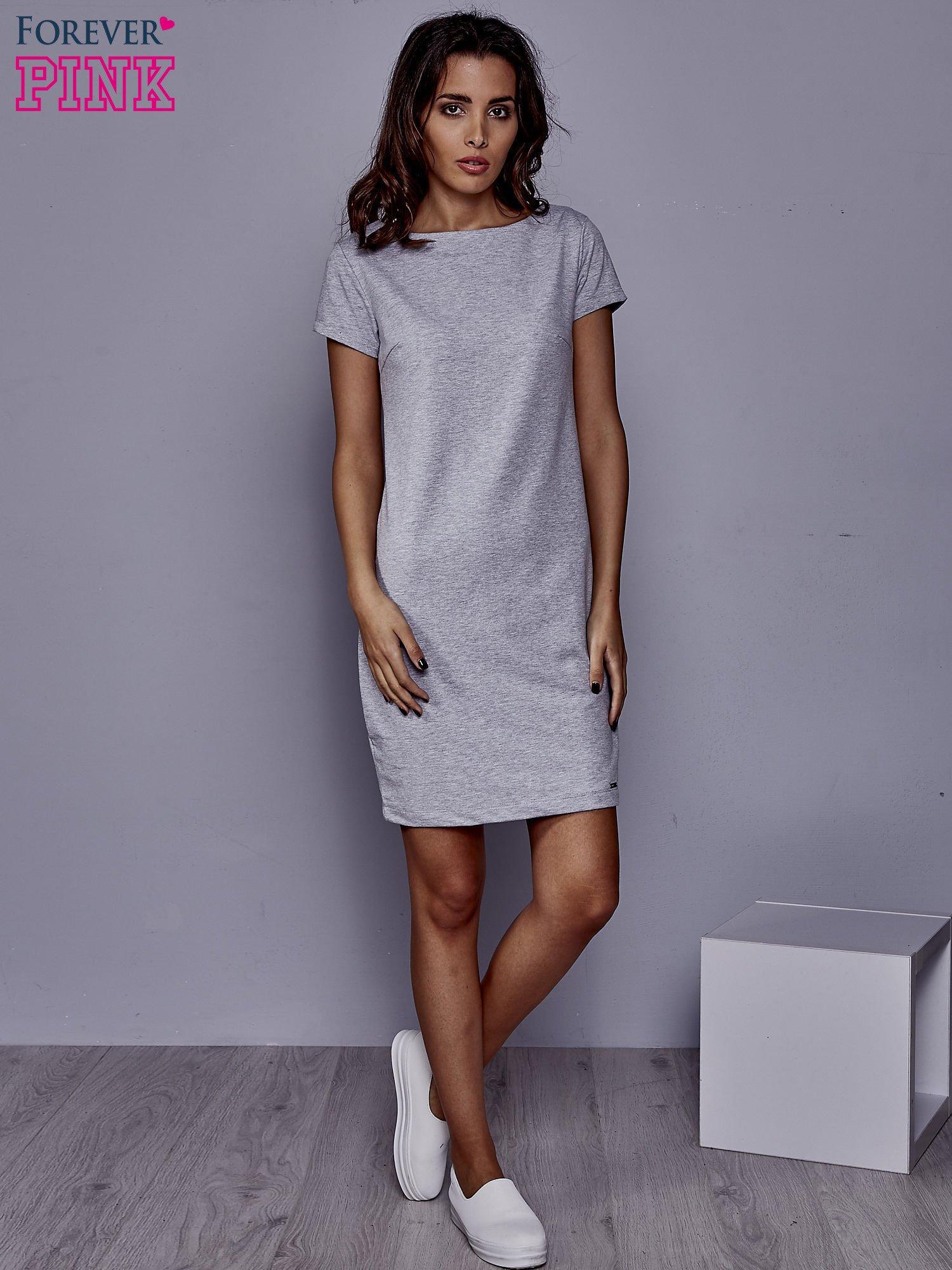 Szara sukienka dresowa o prostym kroju                                  zdj.                                  2