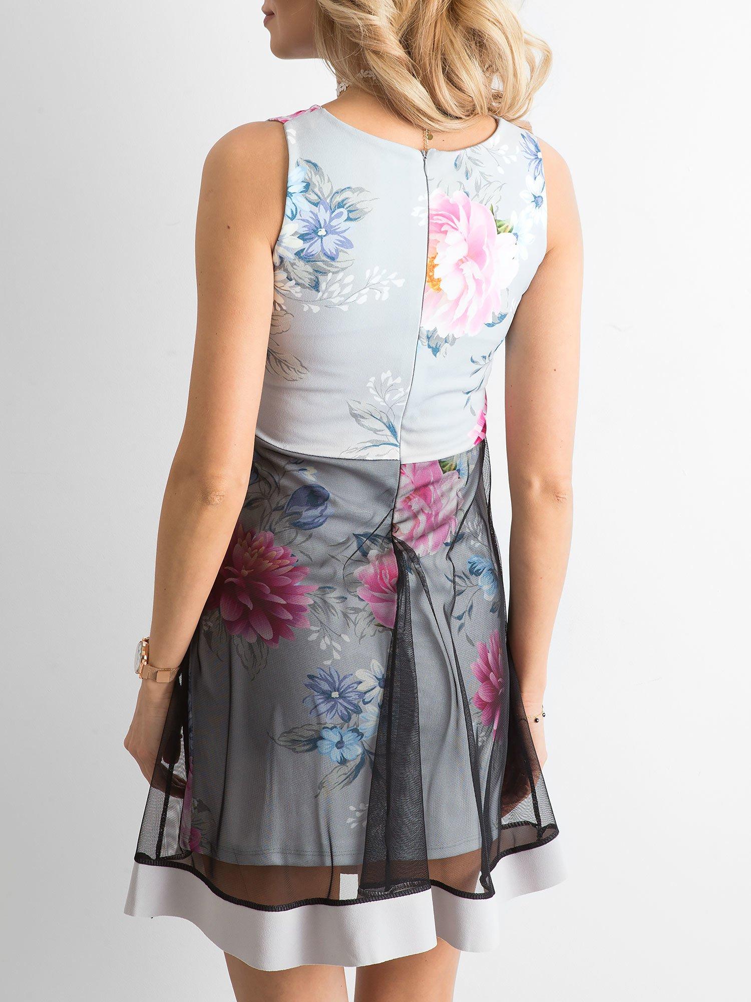 1f5177605c Szara sukienka koktajlowa z tiulową spódnicą - Sukienka koktajlowa ...
