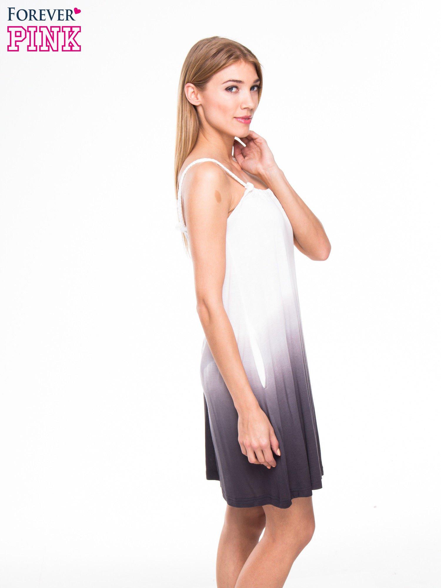 Szara sukienka na ramiączka z efektem ombre                                  zdj.                                  5