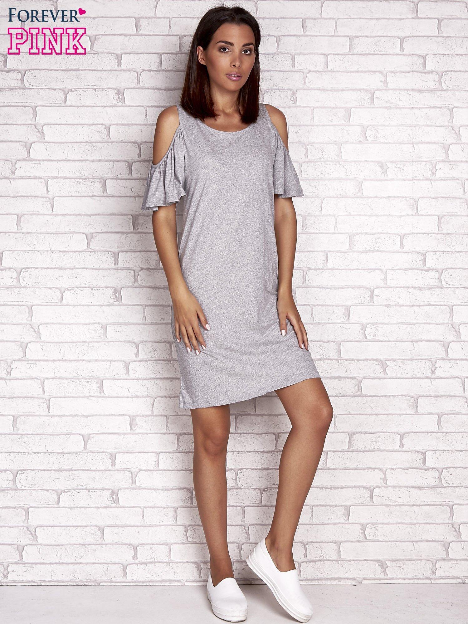 Szara sukienka z rękawami cut out                                  zdj.                                  4