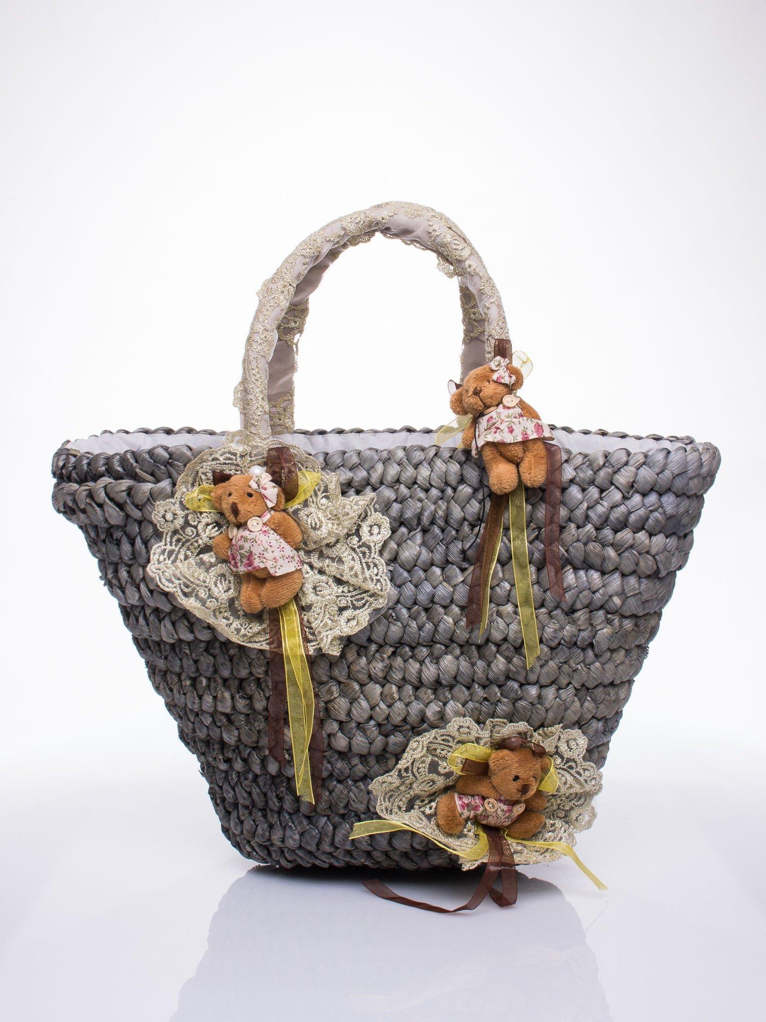 Szara  torba koszyk plażowy z kwiatami                                  zdj.                                  2