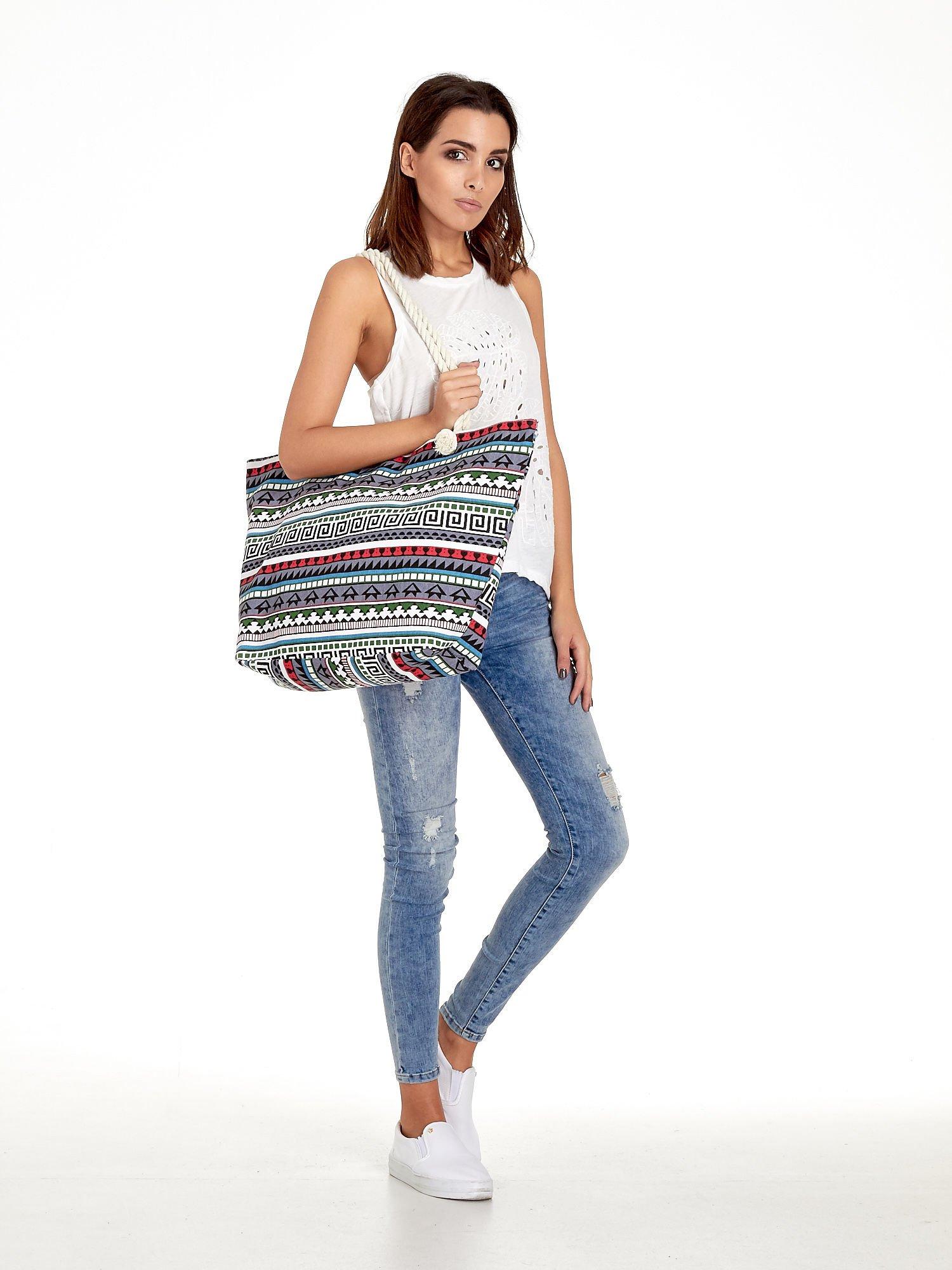 Szara torba plażowa w azteckie wzory                                  zdj.                                  2