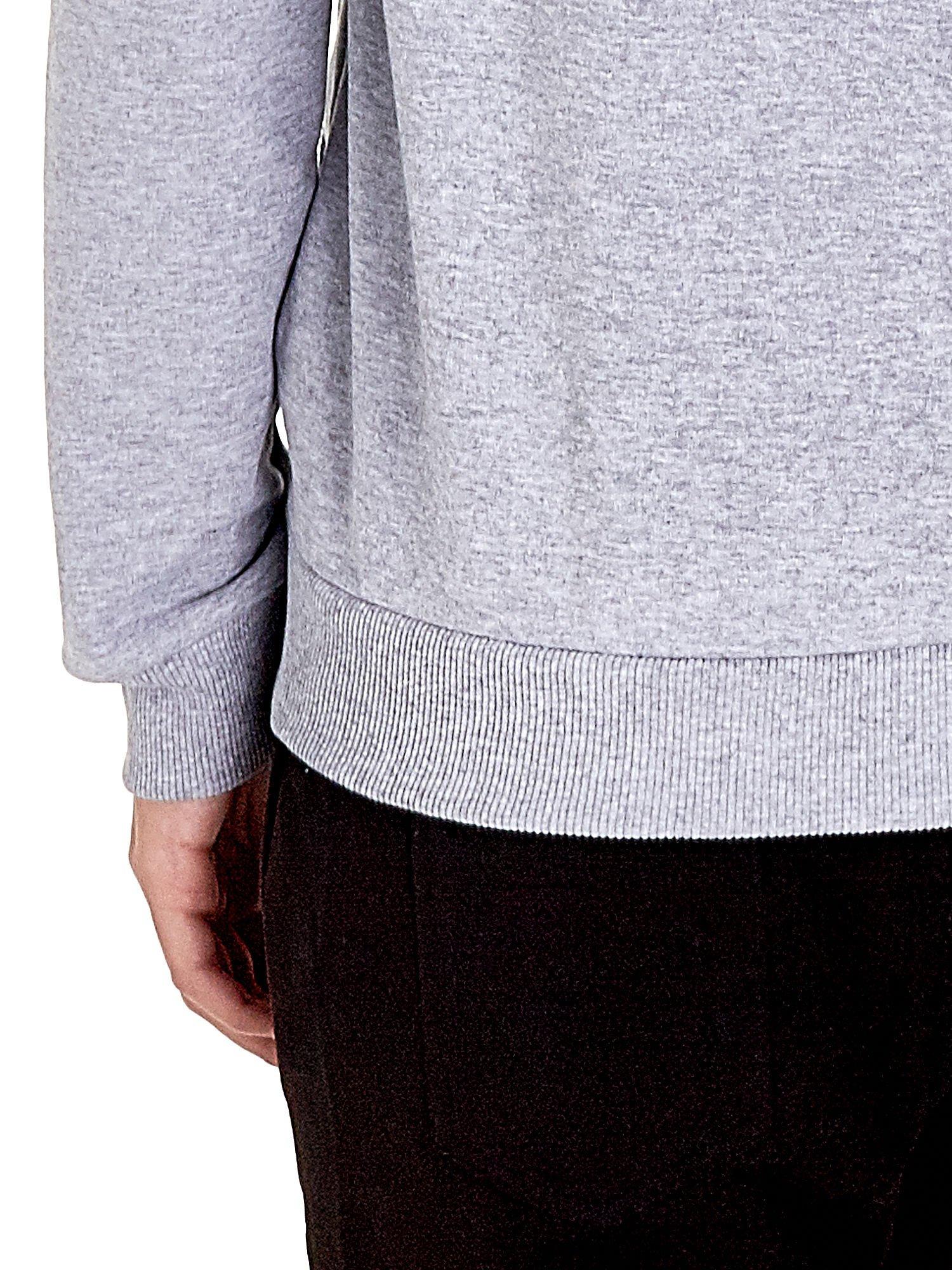 Szara zasuwana bluza z kapturem z napisem STYLISH & LOVABLE                                  zdj.                                  6