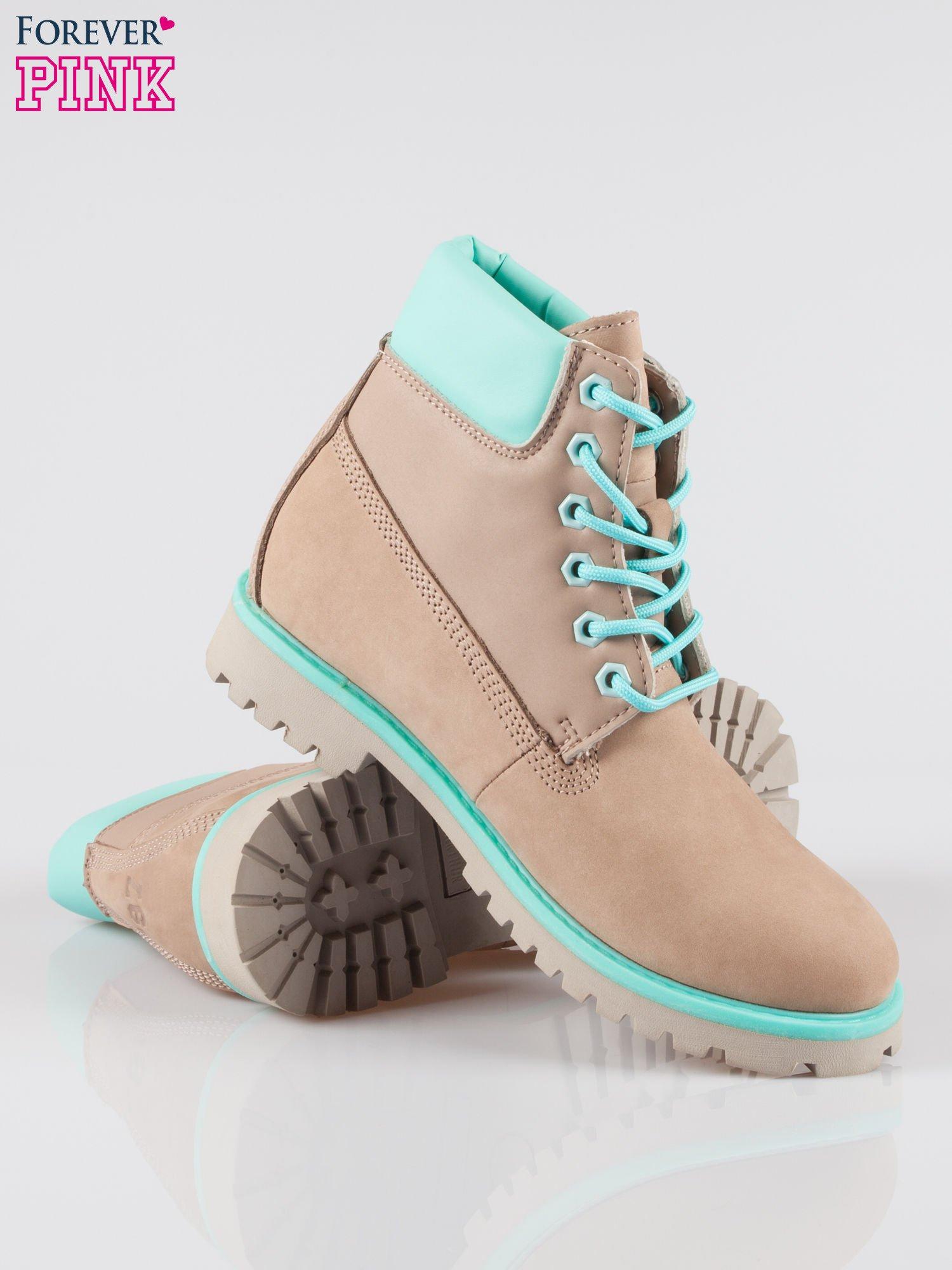 Szare buty trekkingowe traperki damskie ze skóry naturalnej                                  zdj.                                  4