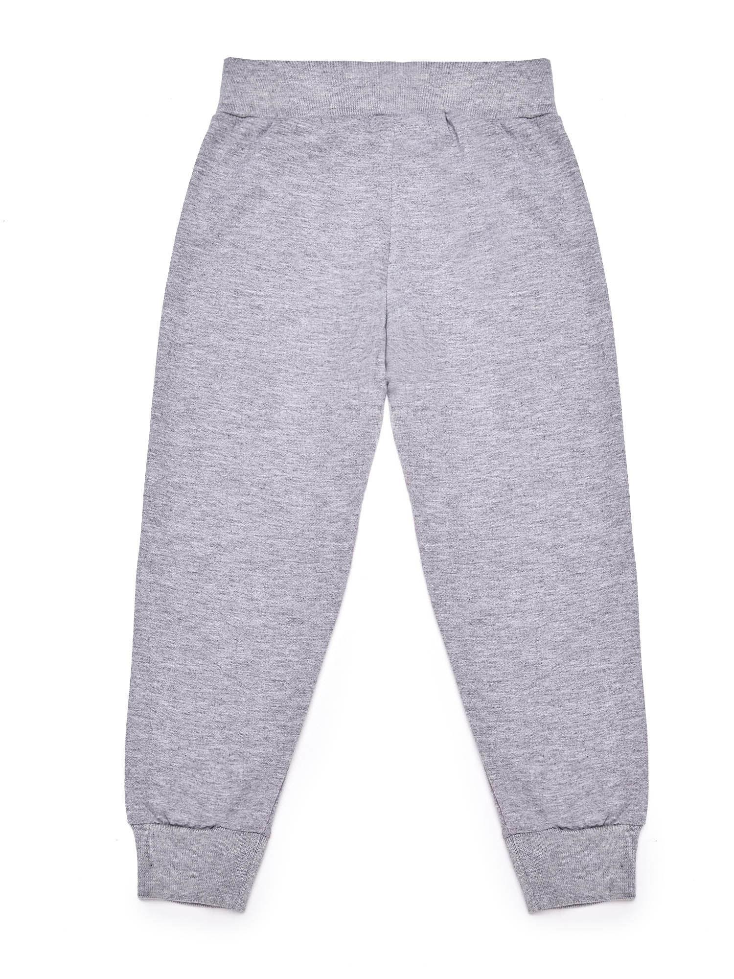 Szare chłopięce spodnie dresowe z napisem moro