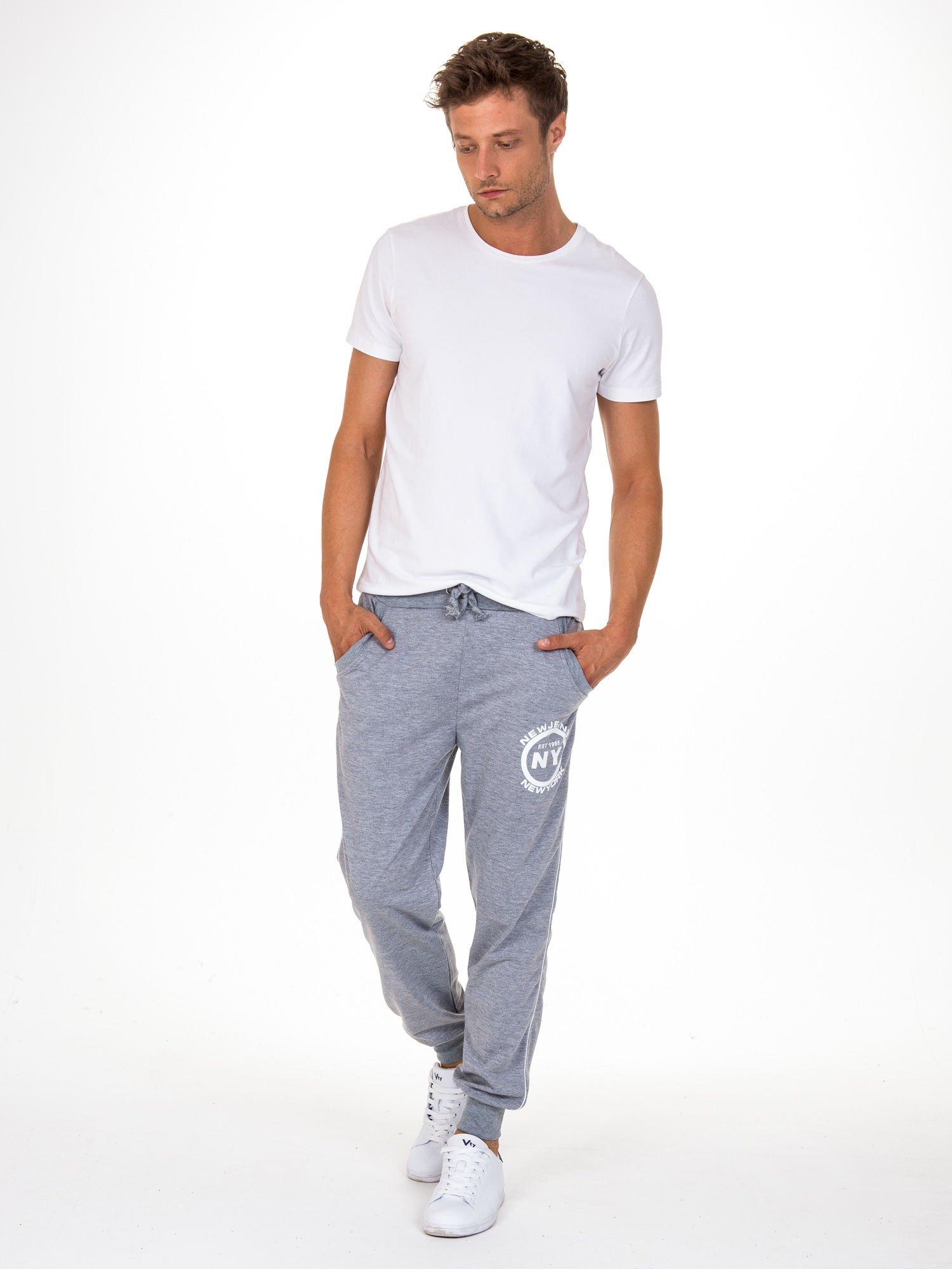 Szare dresowe spodnie męskie z lampasami po bokach i aplikacją                                  zdj.                                  2