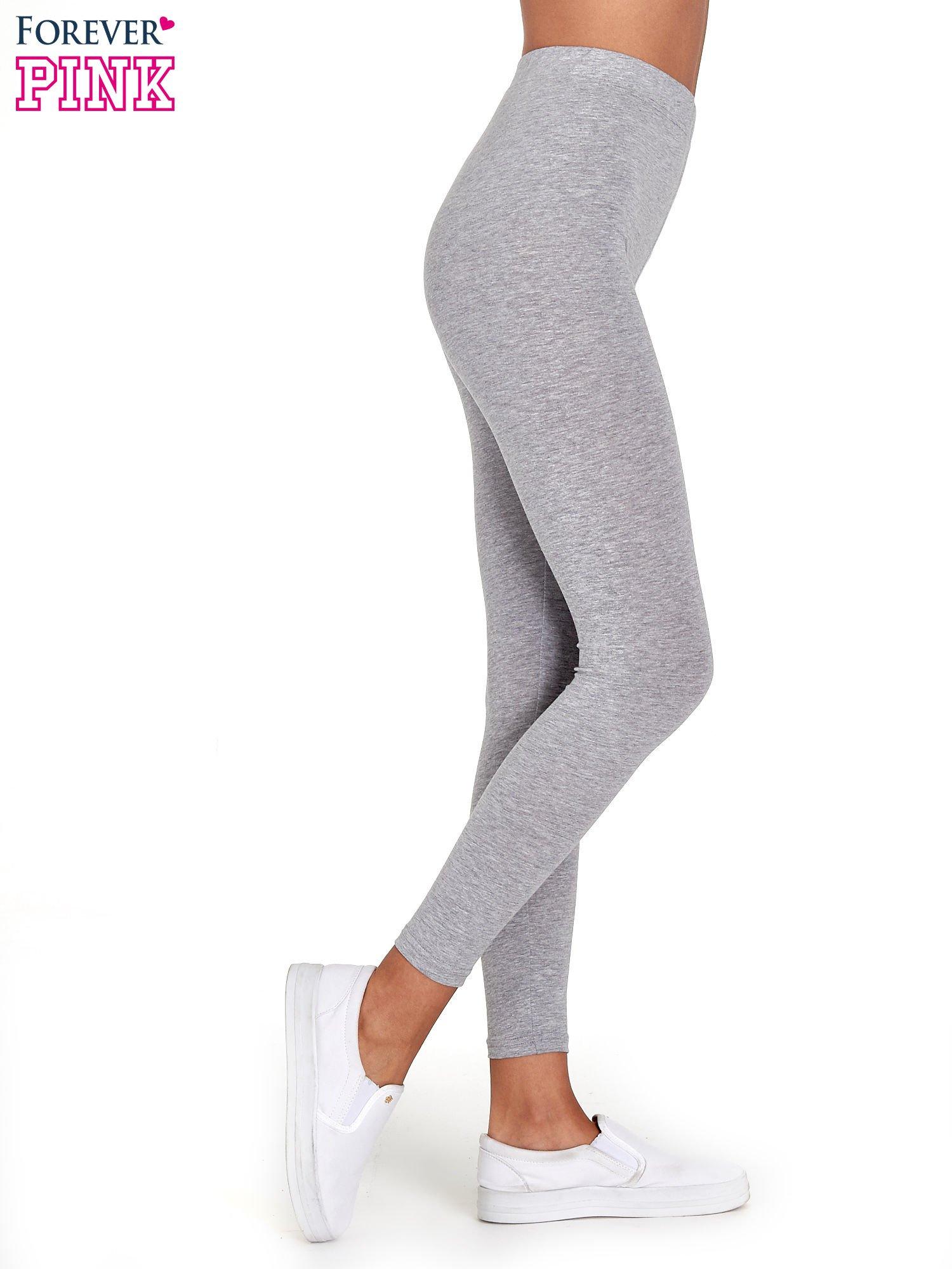 Szare melanżowe legginsy damskie basic                                  zdj.                                  3