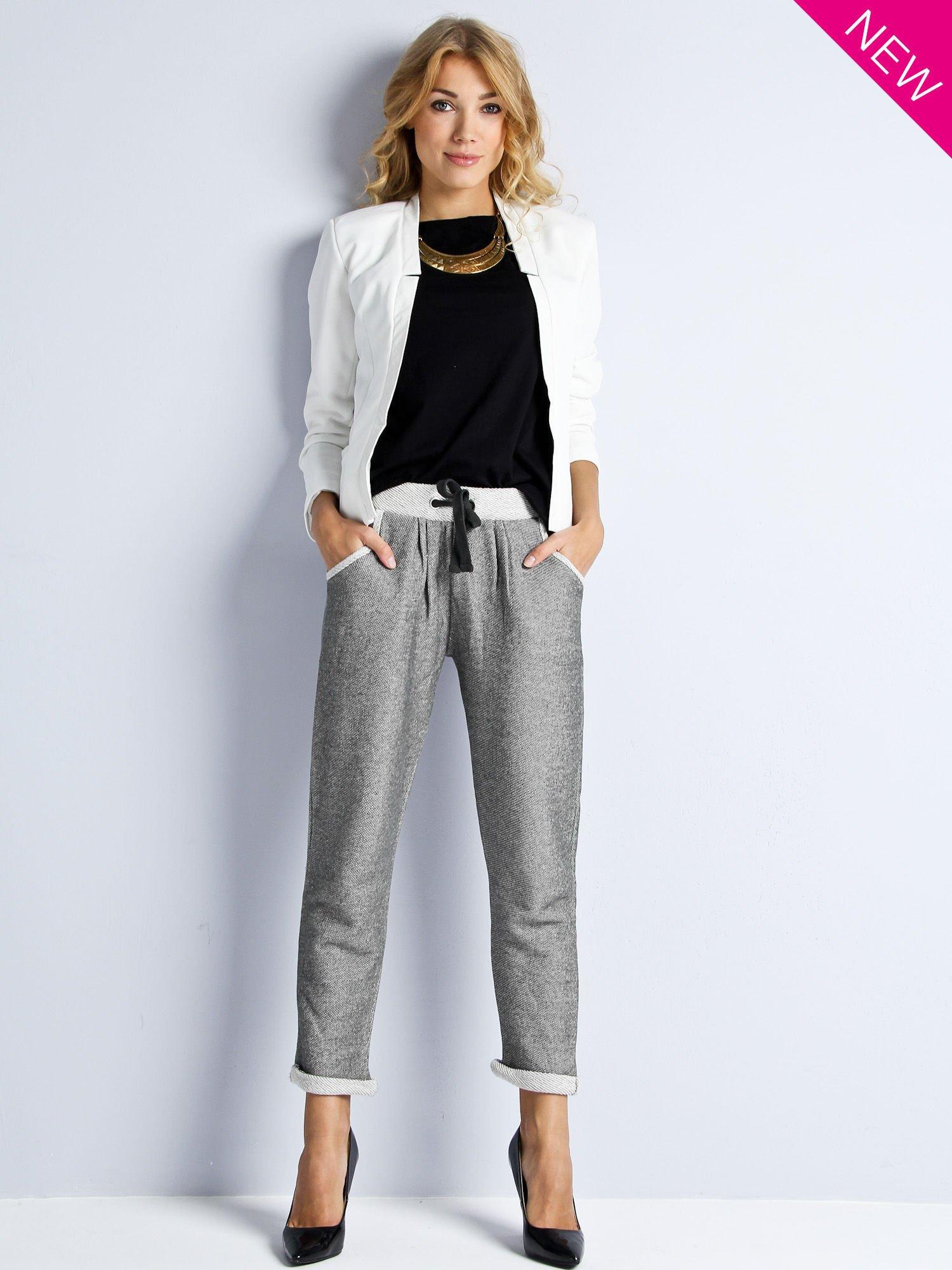 Szare melanżowe spodnie dresowe w stylu casual                                  zdj.                                  2