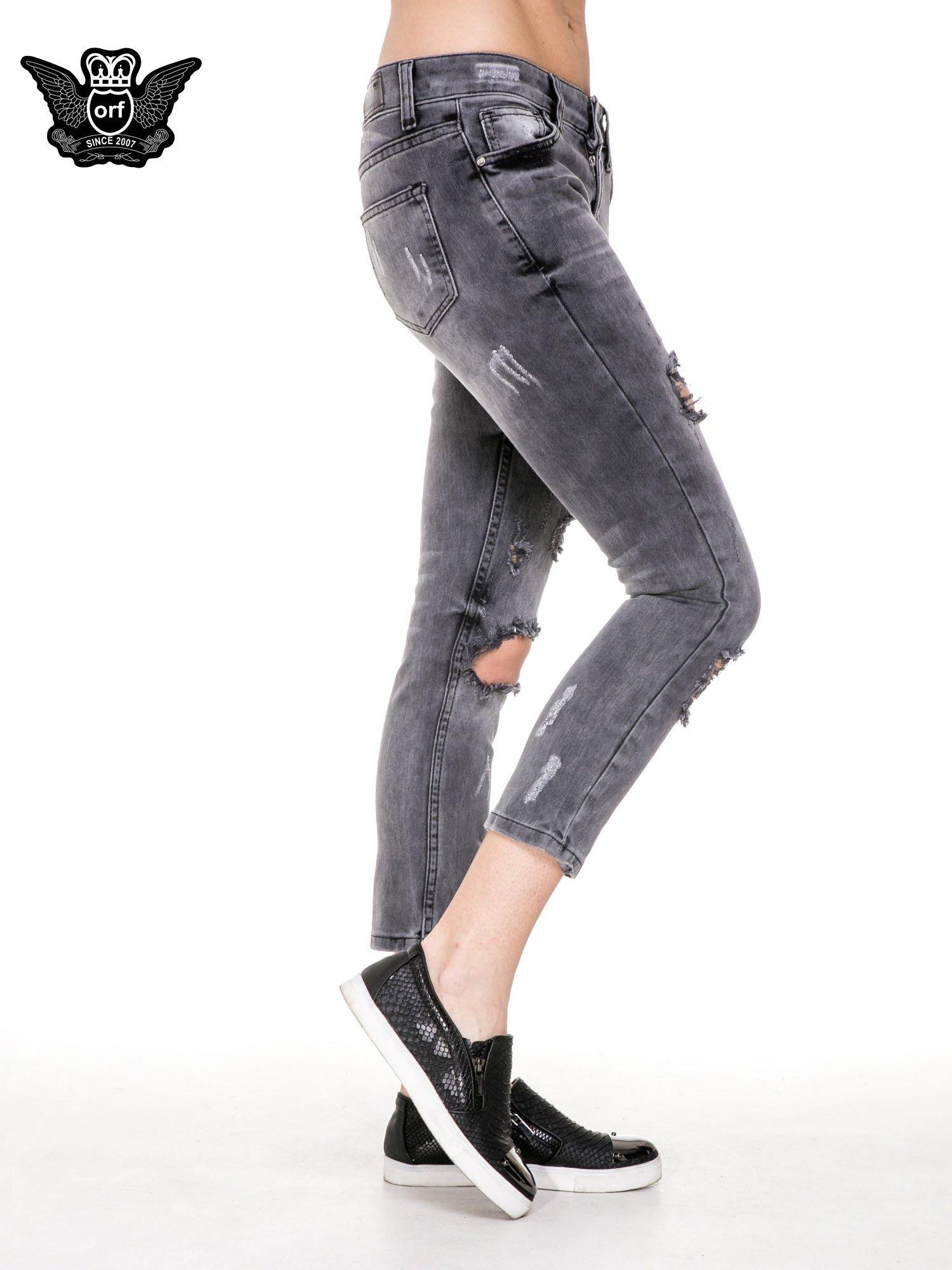 Szare rozjaśniane spodnie jeansowe 7/8 z rozdarciami                                  zdj.                                  3