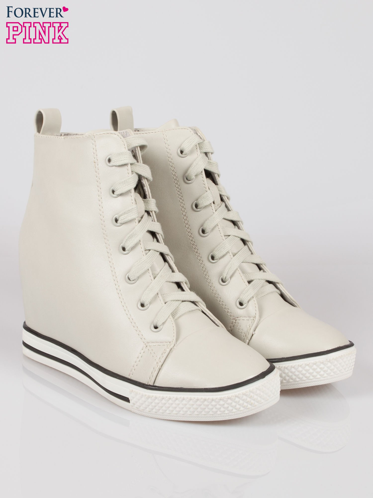 Szare skórzane sneakersy damskie                                  zdj.                                  2