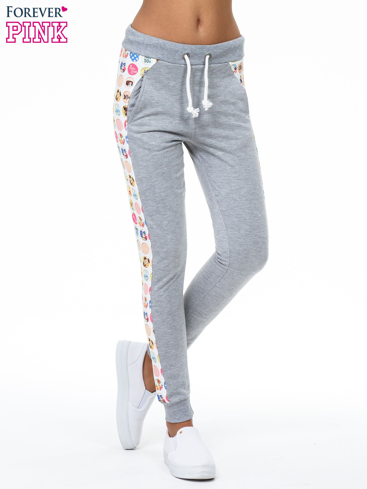 Szare spodnie dresowe z kolorowym lampasem                                  zdj.                                  1