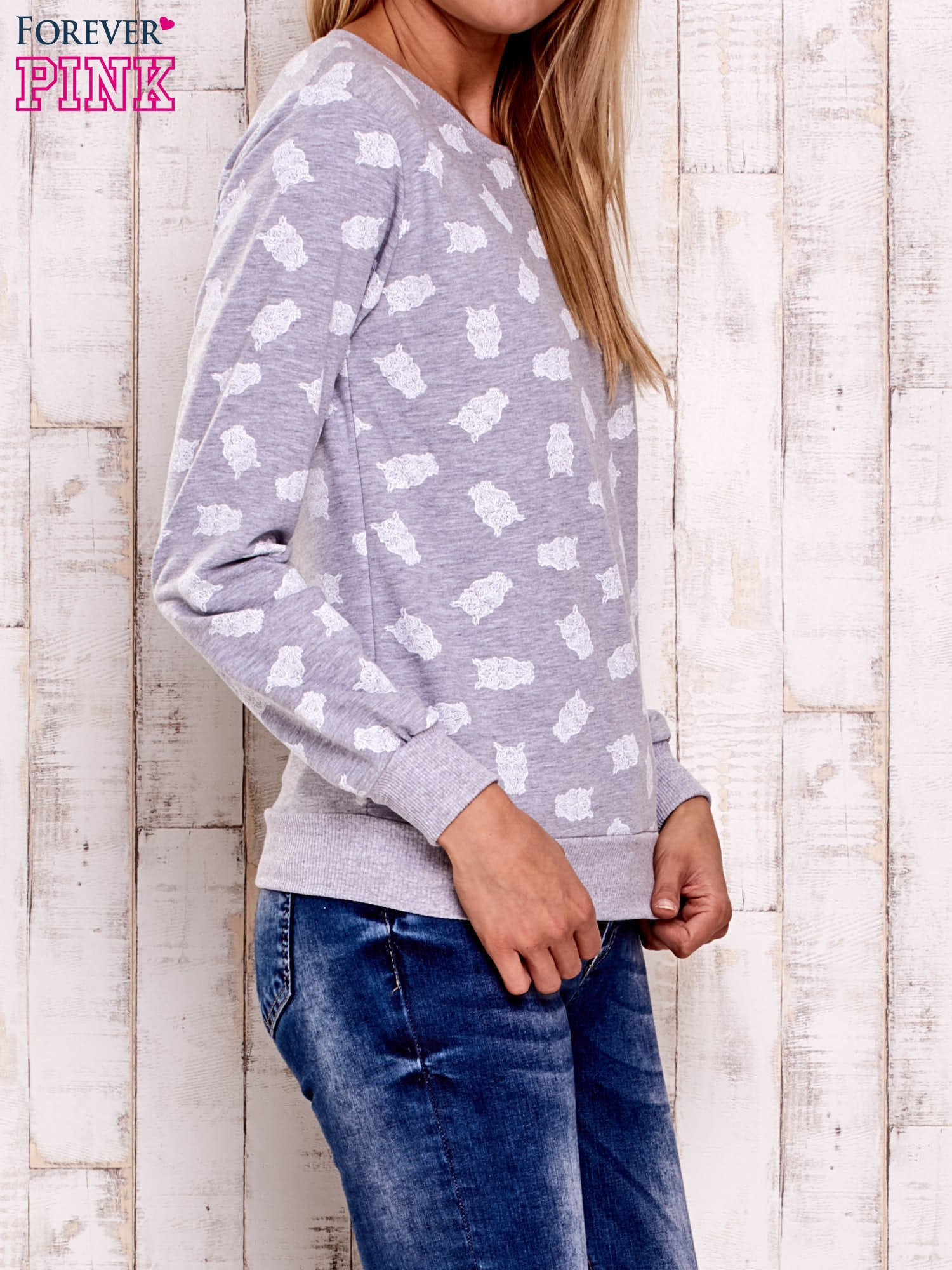 Szaro-biała bluza z motywem sów                                  zdj.                                  3