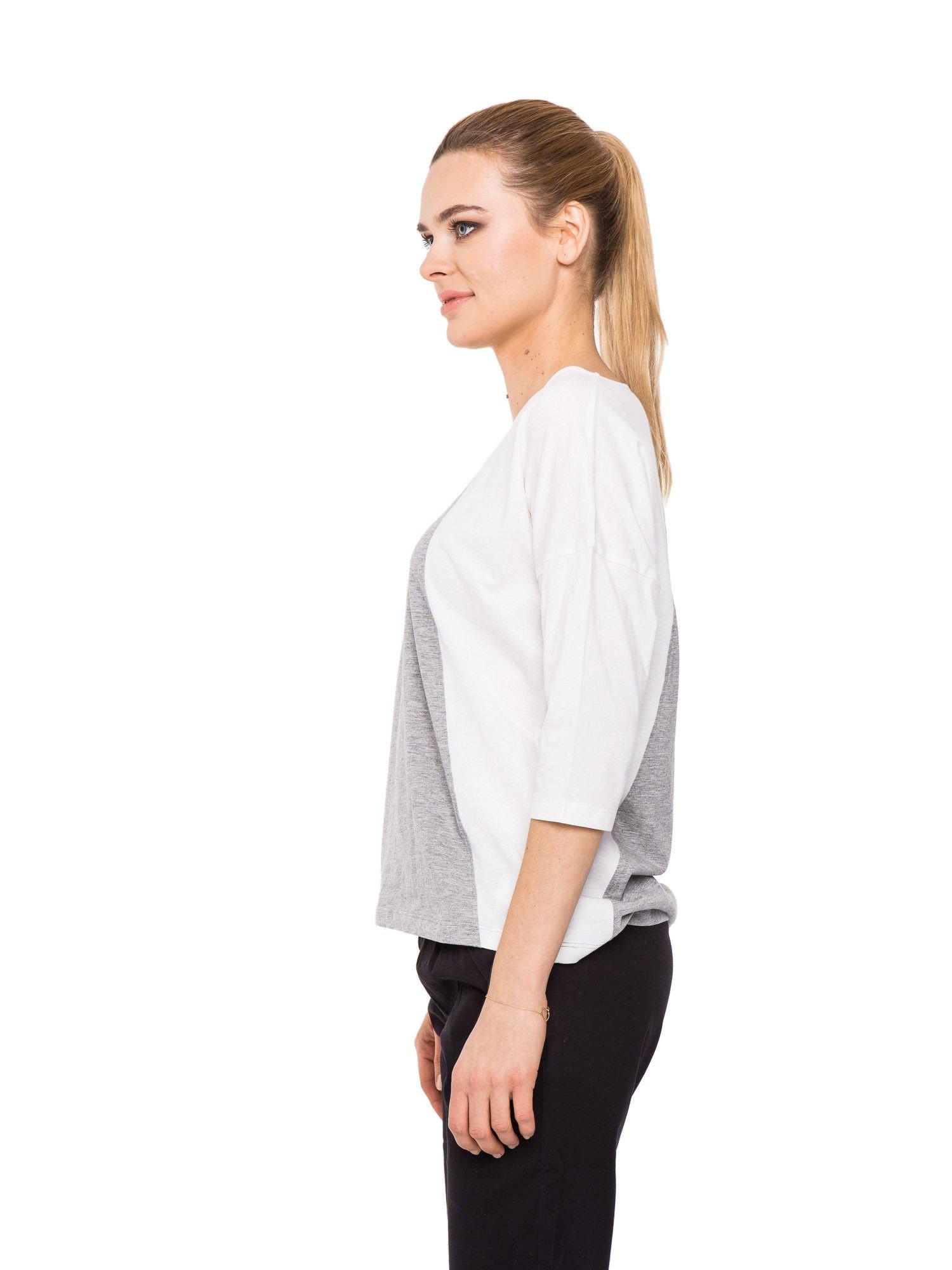 Szaro-biała bluzka modułowa z rękawem 3/4                                  zdj.                                  2