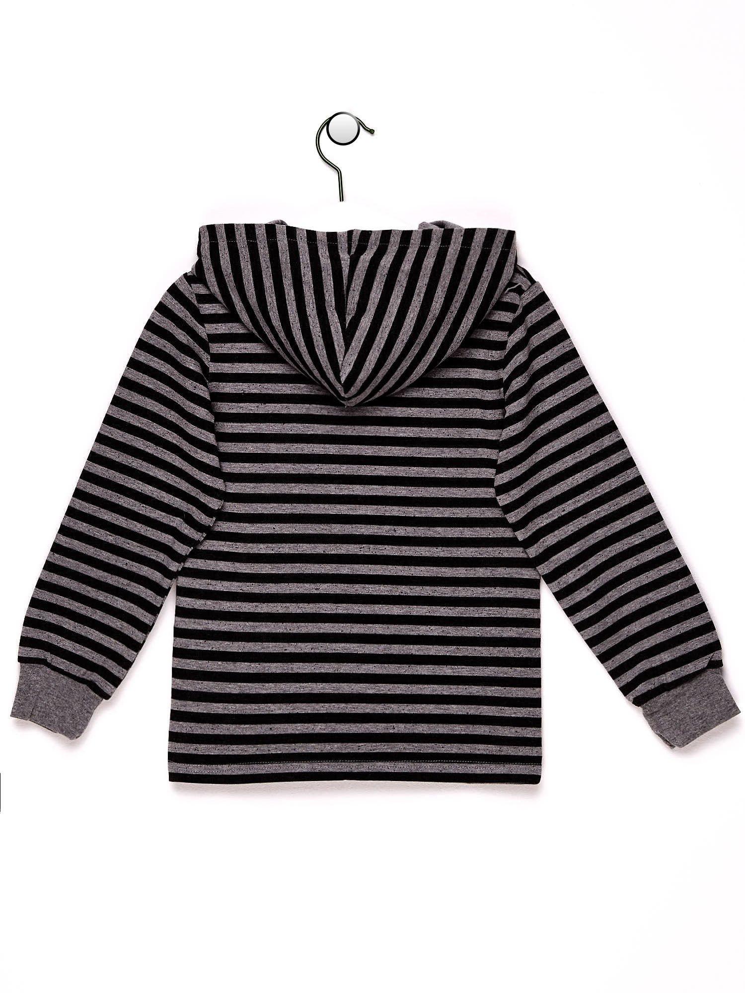 Szaro-czarna bluza chłopięca w paski z kapturem