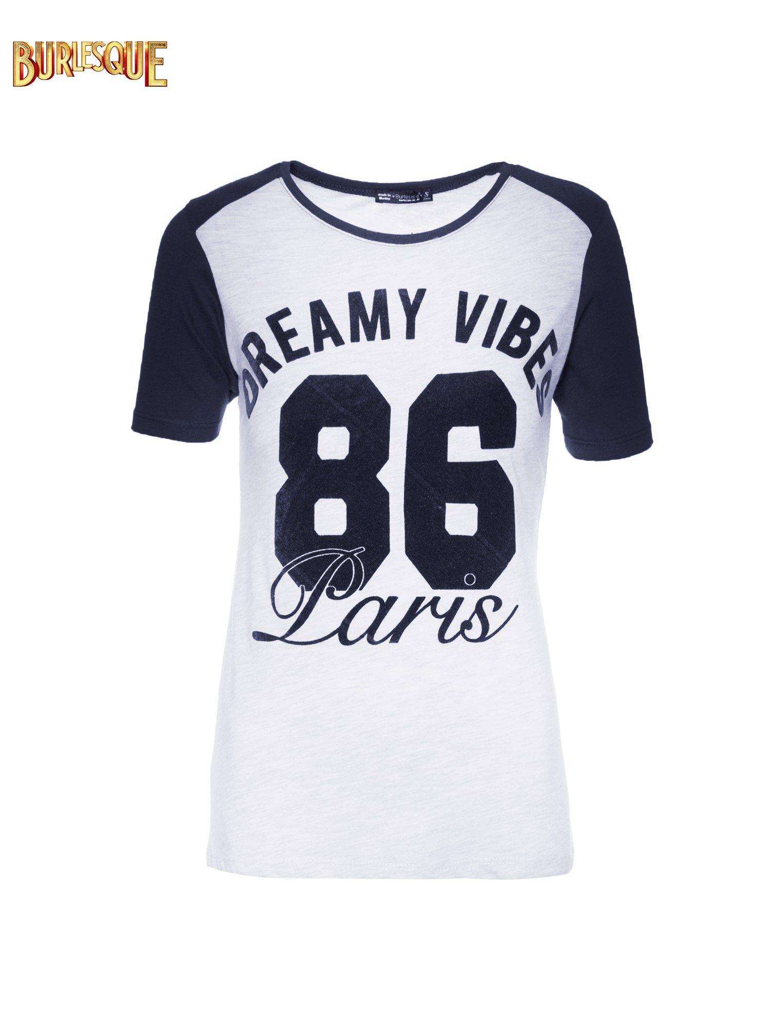 Szaro-granatowy t-shirt z napisem DREAMY VIBES 86 PARIS                                  zdj.                                  1