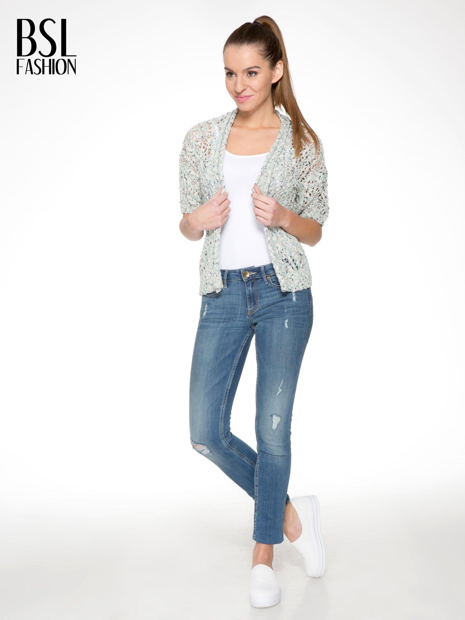 Szarozielony dziergany sweter typu kardigan z krótkim rękawem                                  zdj.                                  2