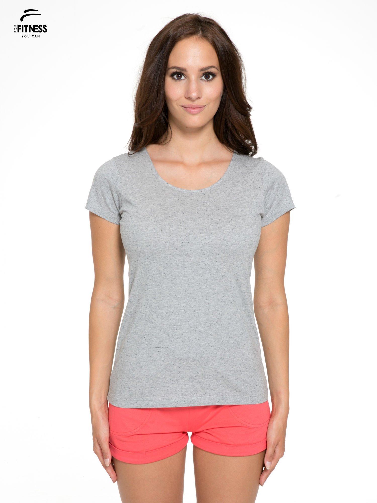 Szary bawełniany t-shirt damski typu basic                                  zdj.                                  1