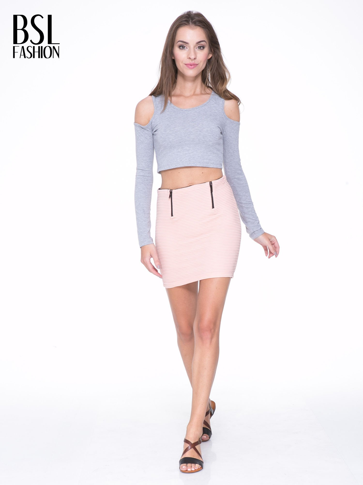 Szary crop top z rękawami cut out                                  zdj.                                  5