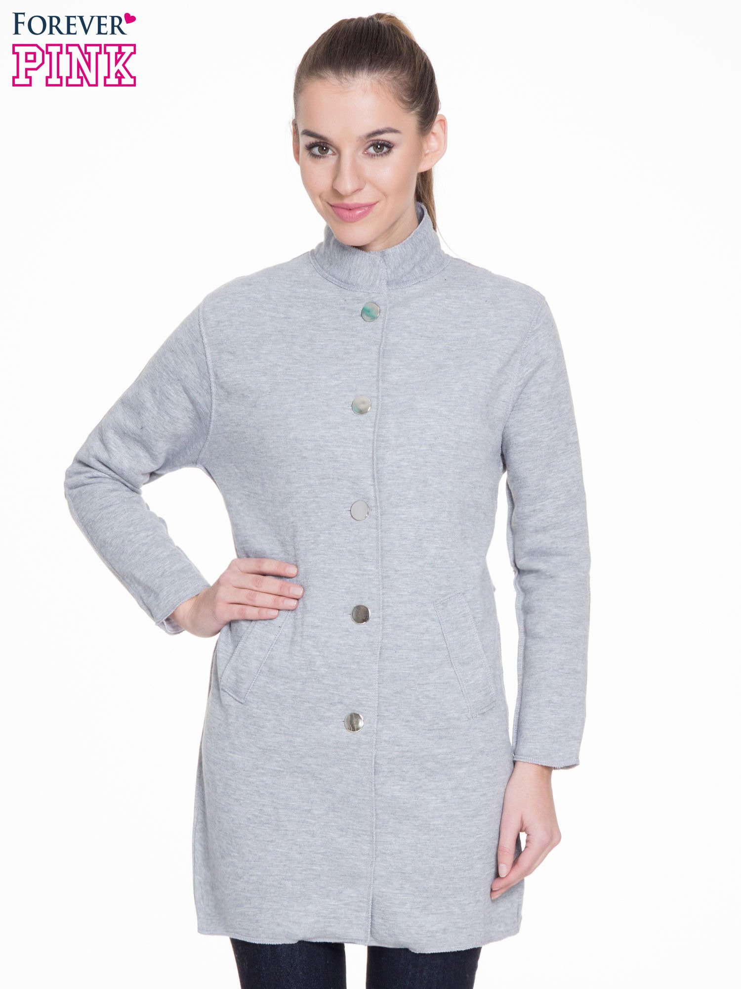 Szary dresowy płaszcz o kroju oversize                                  zdj.                                  1