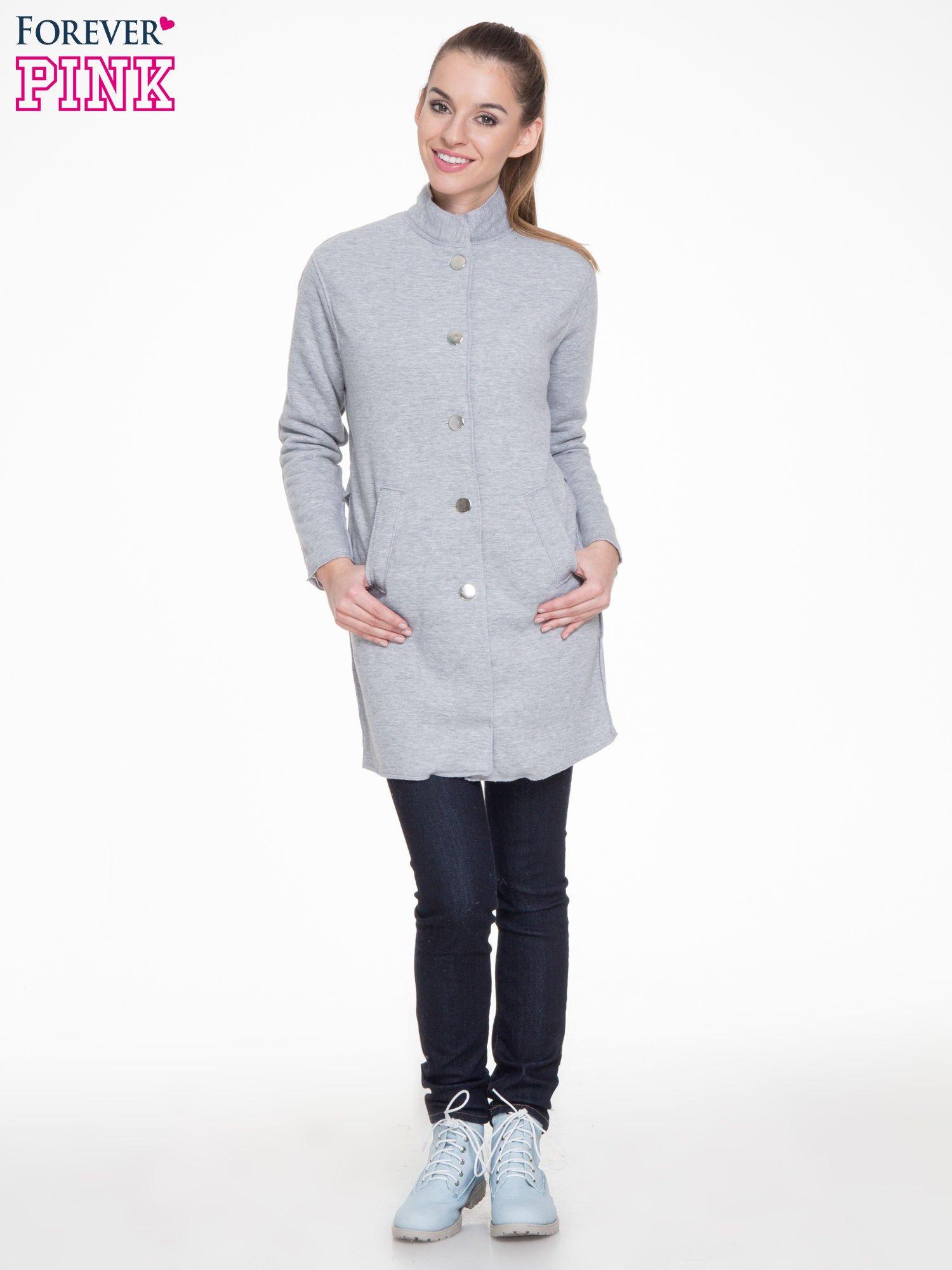 Szary dresowy płaszcz o kroju oversize                                  zdj.                                  2