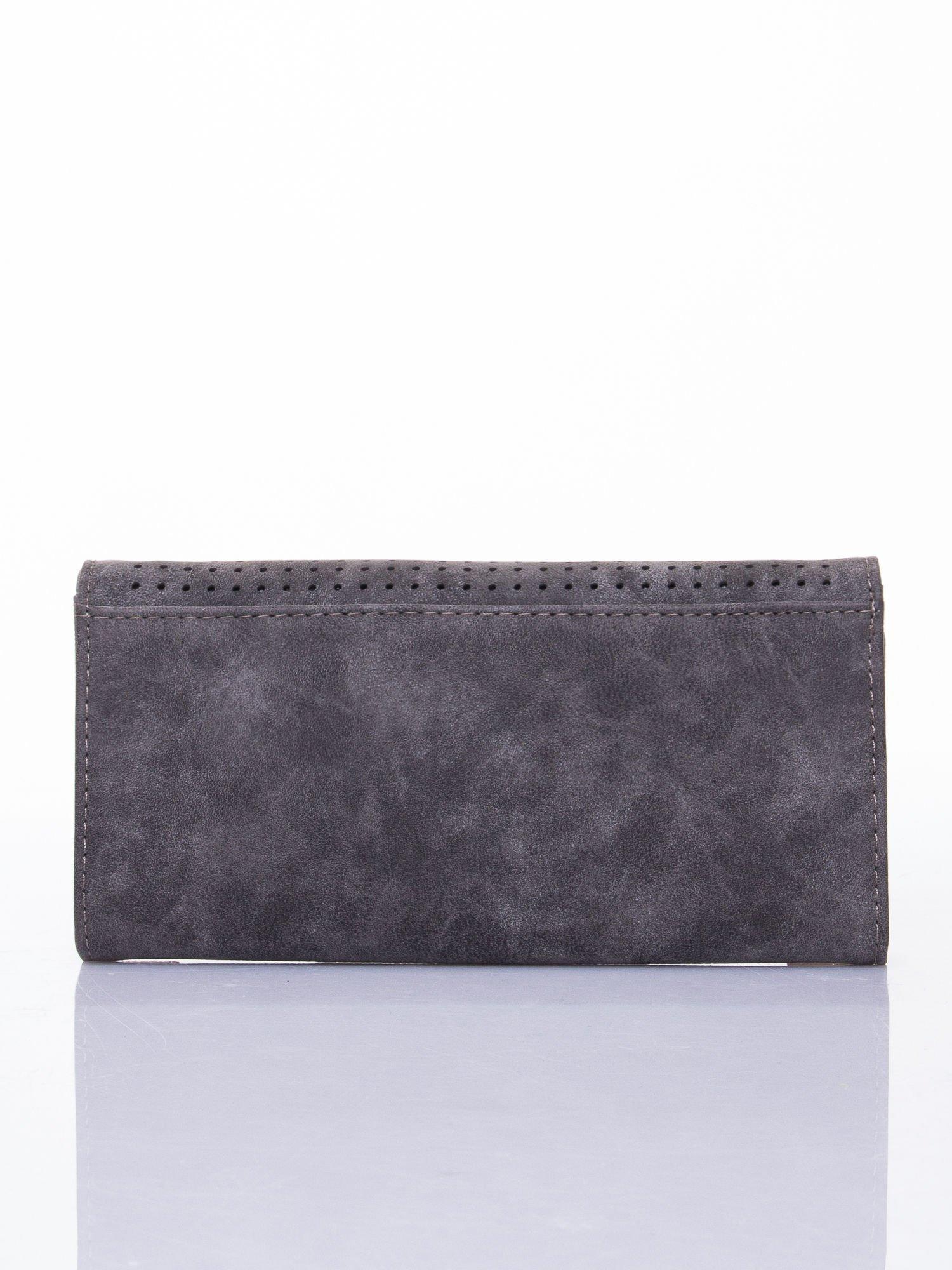 Szary dziurkowany portfel ze złotym wykończeniem                                  zdj.                                  2