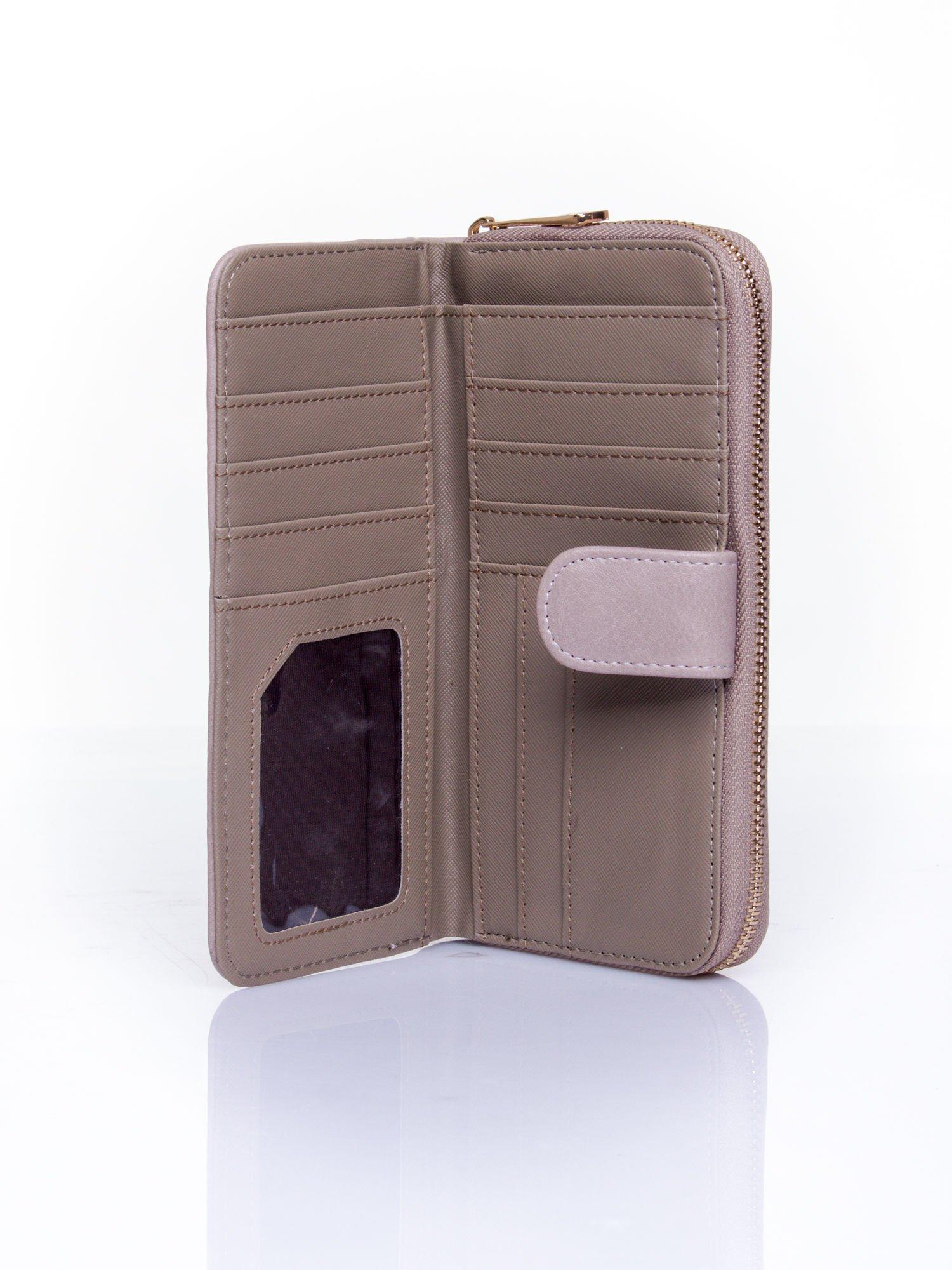 Szary pikowany portfel ze złotym suwakiem                                  zdj.                                  4