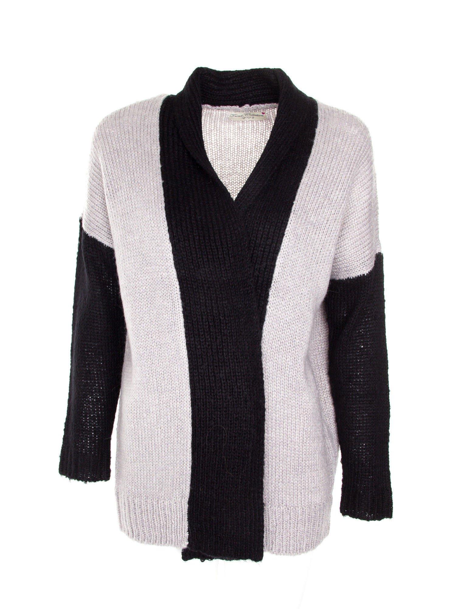 Szary sweter z kontrastowym pasem i rękawami                                  zdj.                                  1