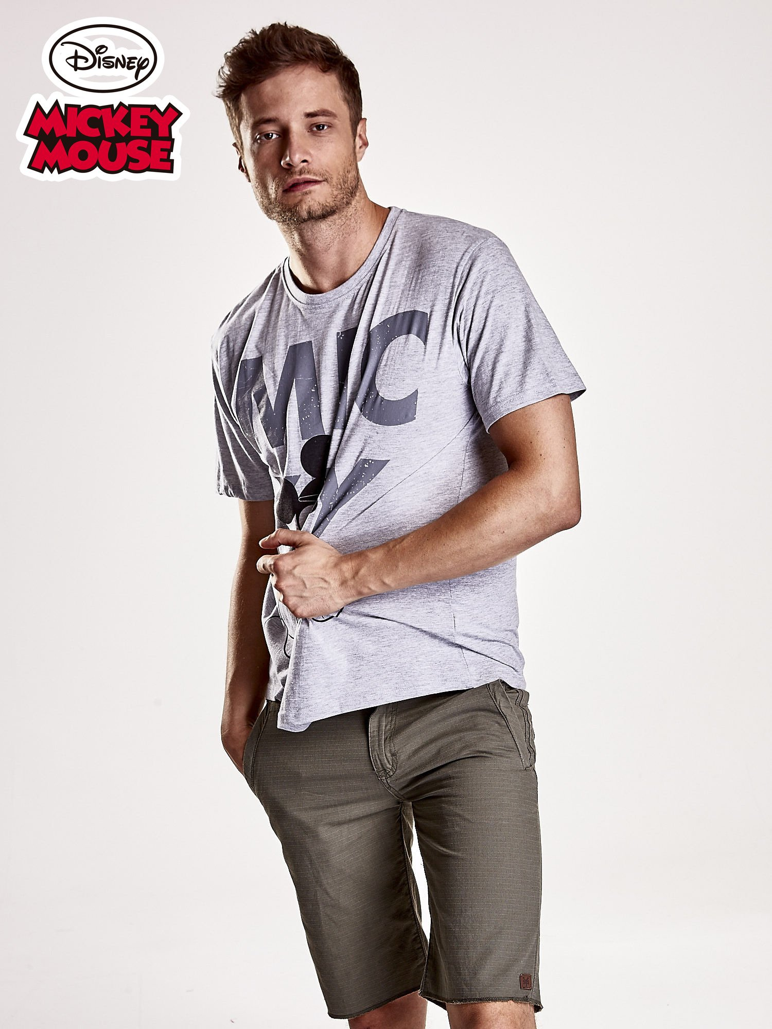 Szary t-shirt męski MICKEY MOUSE                                   zdj.                                  1