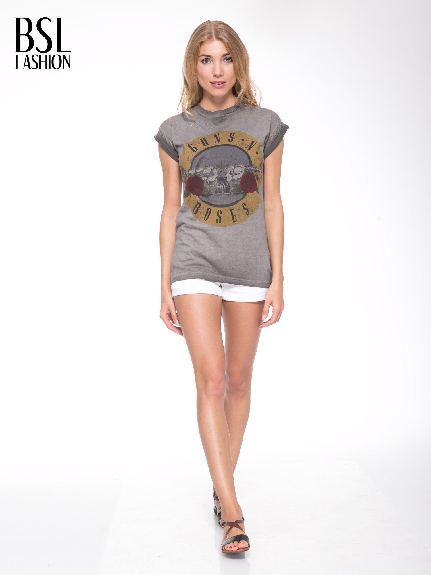 Szary t-shirt z nadrukiem GUNS N' ROSES                                  zdj.                                  5