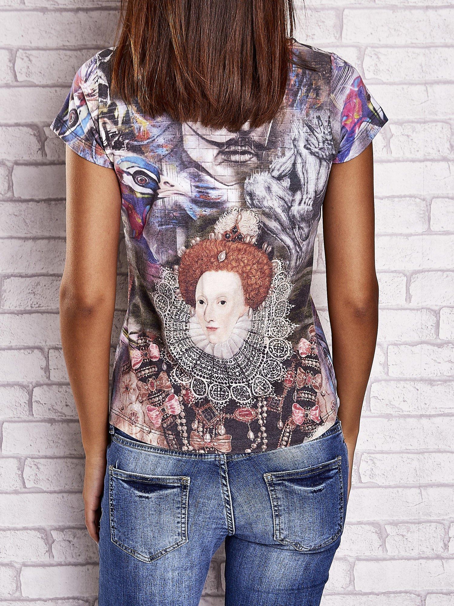 Szary t-shirt z nadrukiem graffiti i królowej                                  zdj.                                  2