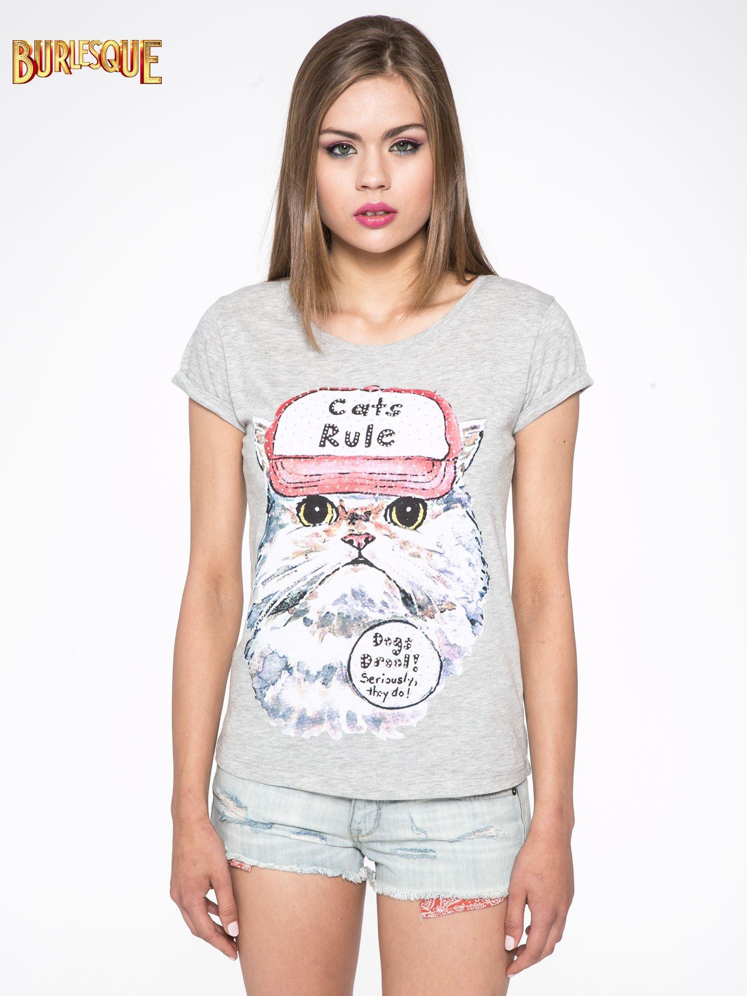 Szary t-shirt z nadrukiem kota i napisem CATS RULE                                  zdj.                                  10