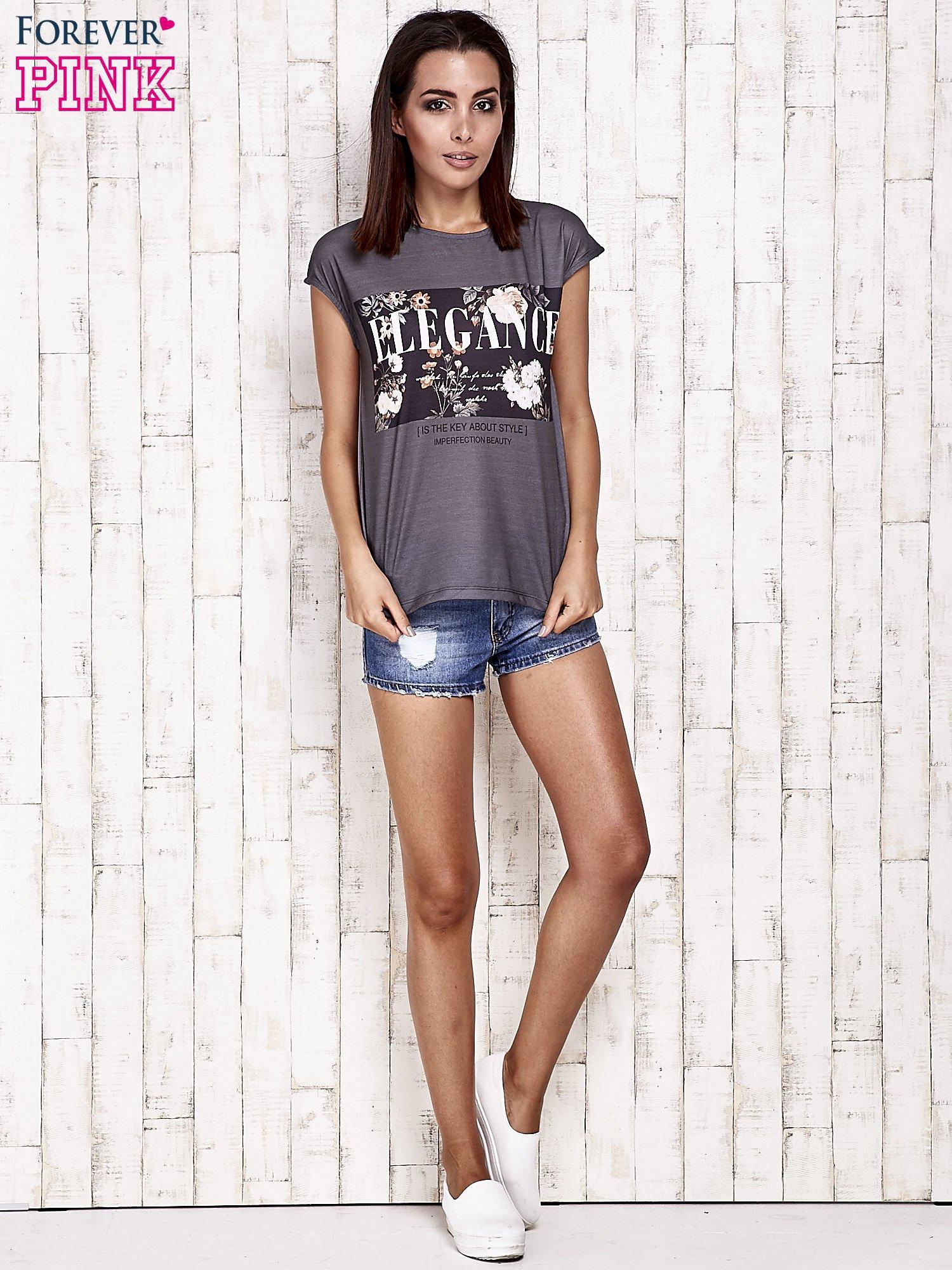 Szary t-shirt z napisem ELEGANCE                                  zdj.                                  2