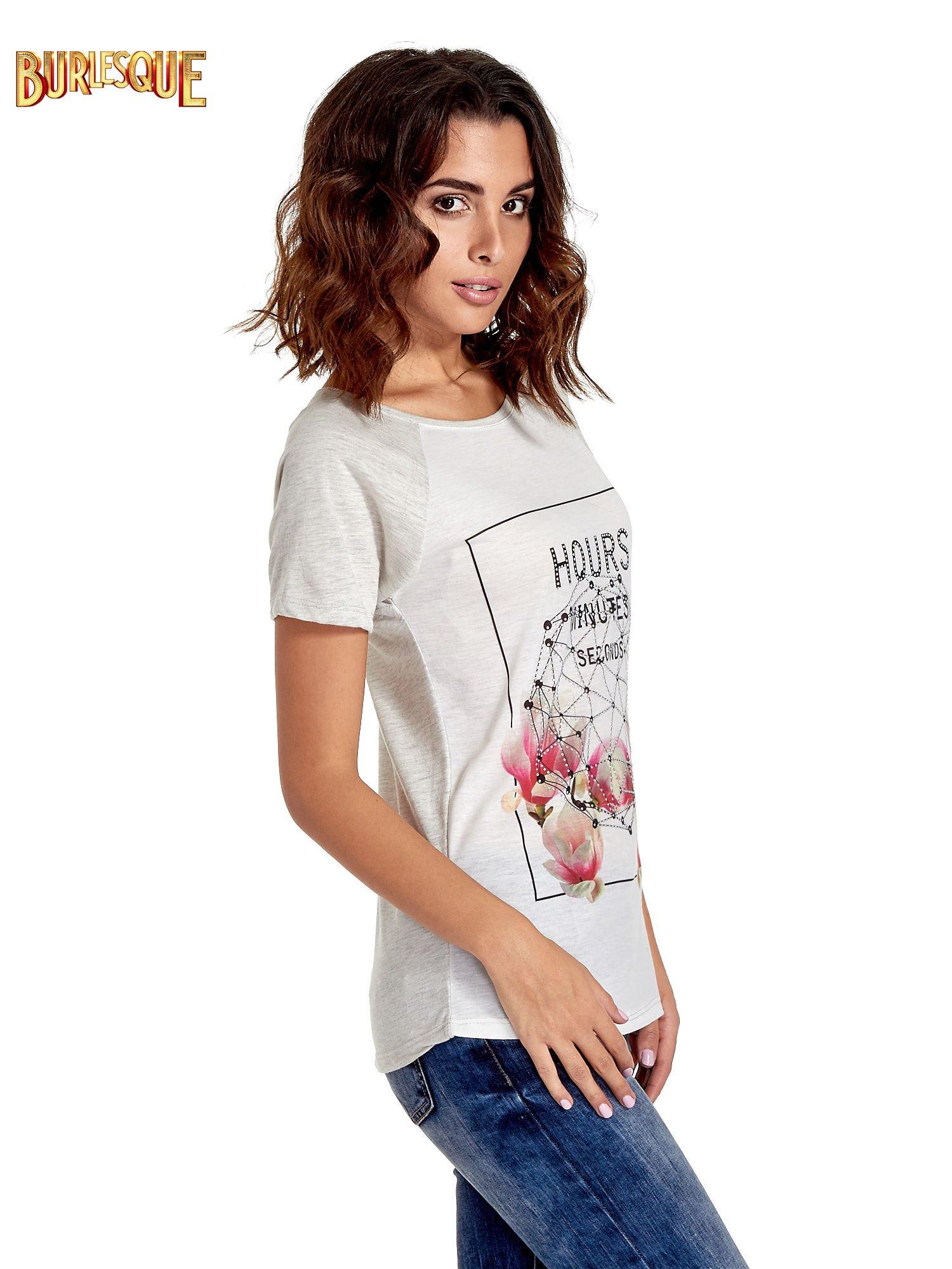 Szary t-shirt z napisem HOURS MINUTES SECONDS z dżetami                                  zdj.                                  3