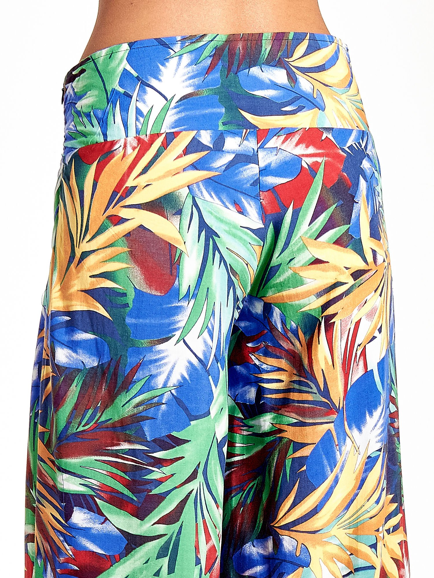 Szerokie spodnie culottes z egzotycznym nadrukiem                                  zdj.                                  7