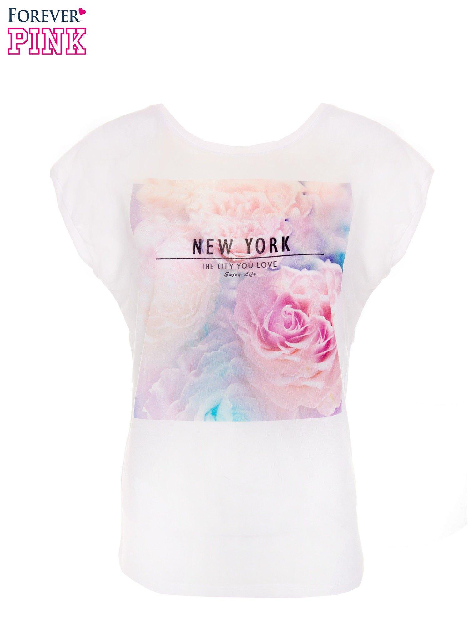 T-shirt NEW YORK z pastelowym floral printem                                  zdj.                                  1