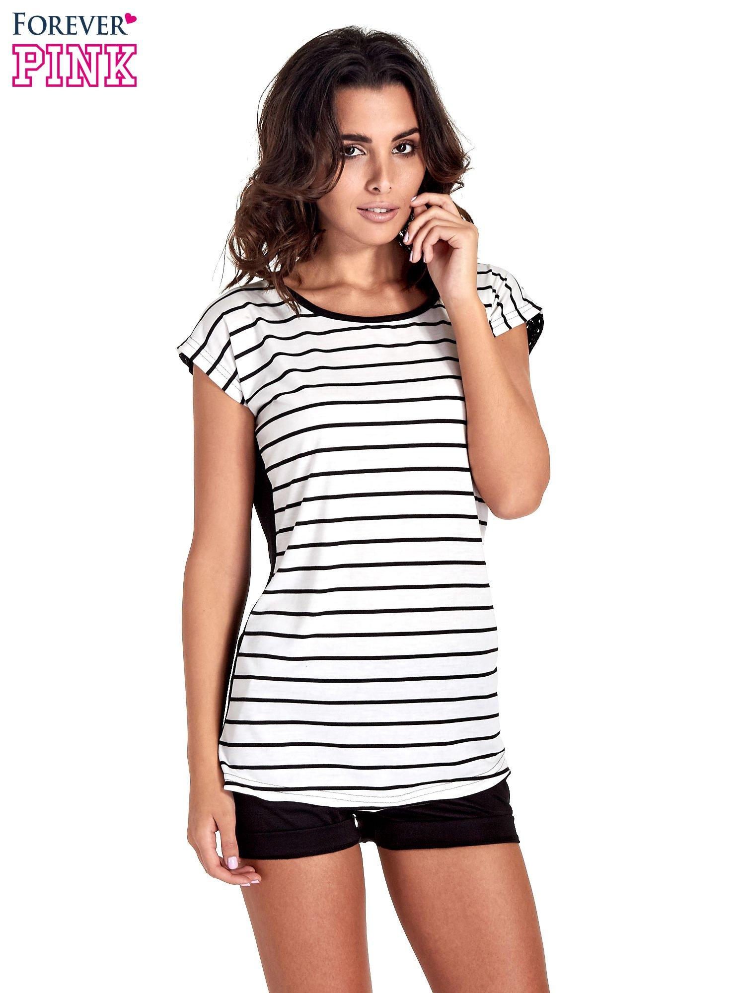 T-shirt w biało-czarne paski z koronką z tyłu                                  zdj.                                  1
