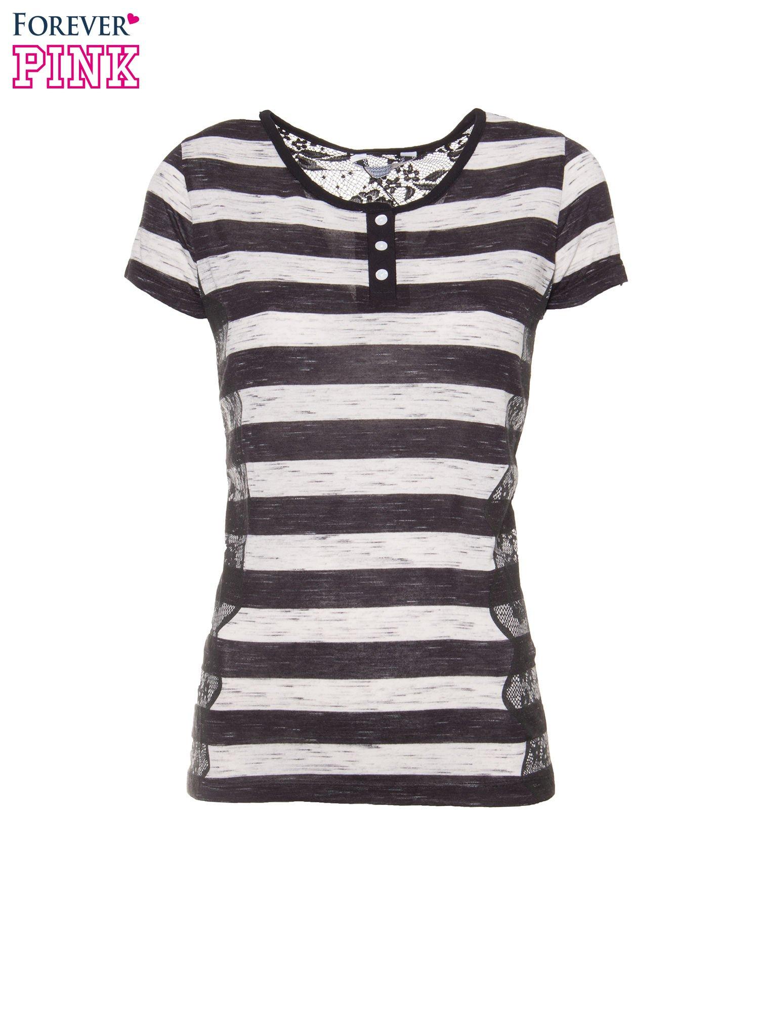 T-shirt w biało-czarne paski z koronkowymi wstawkami                                  zdj.                                  2