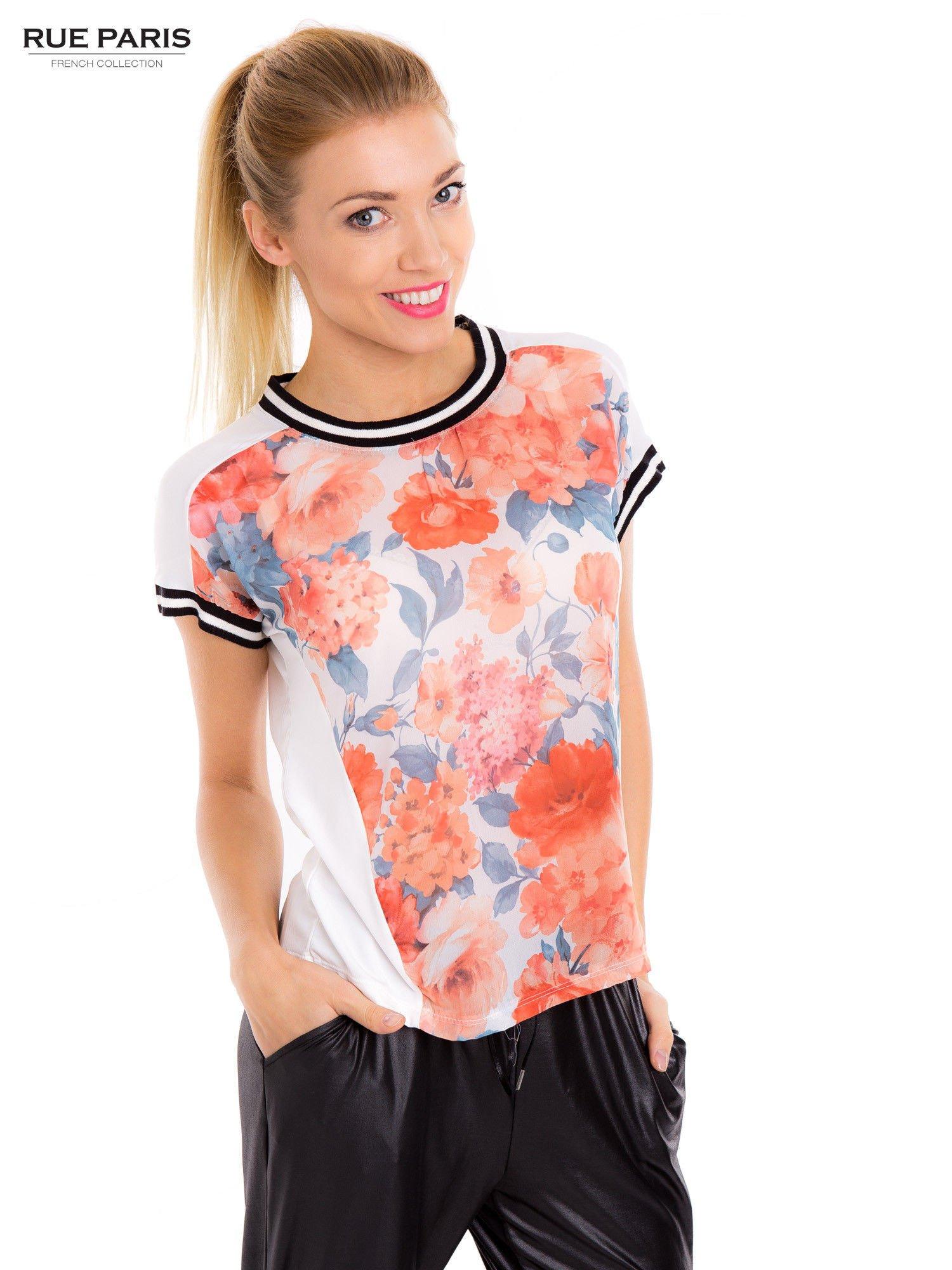 T-shirt w kwiatowy wzór ze sportową lamówką                                  zdj.                                  2