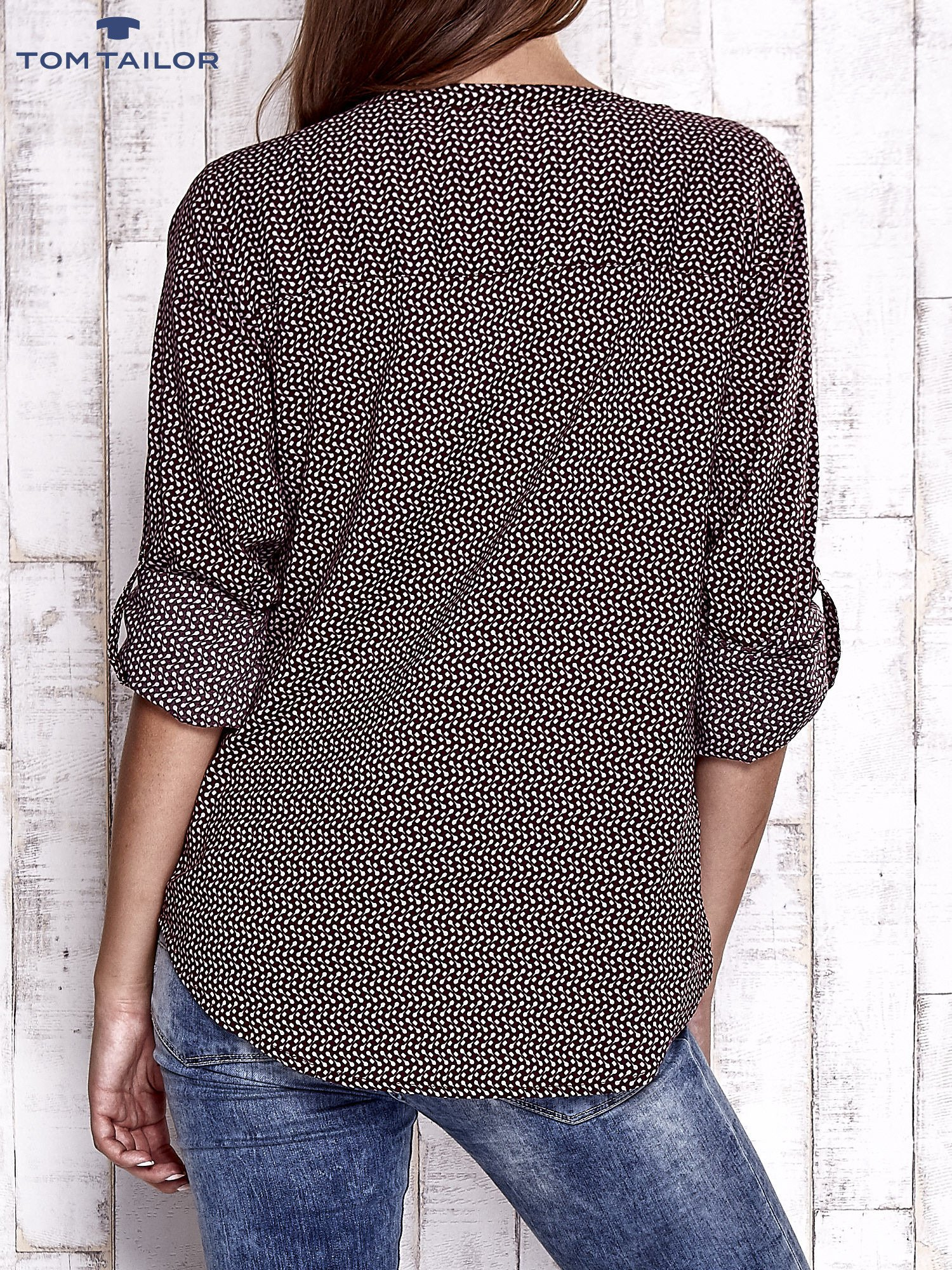 TOM TAILOR Bordowa koszula w drobne wzory                                  zdj.                                  6